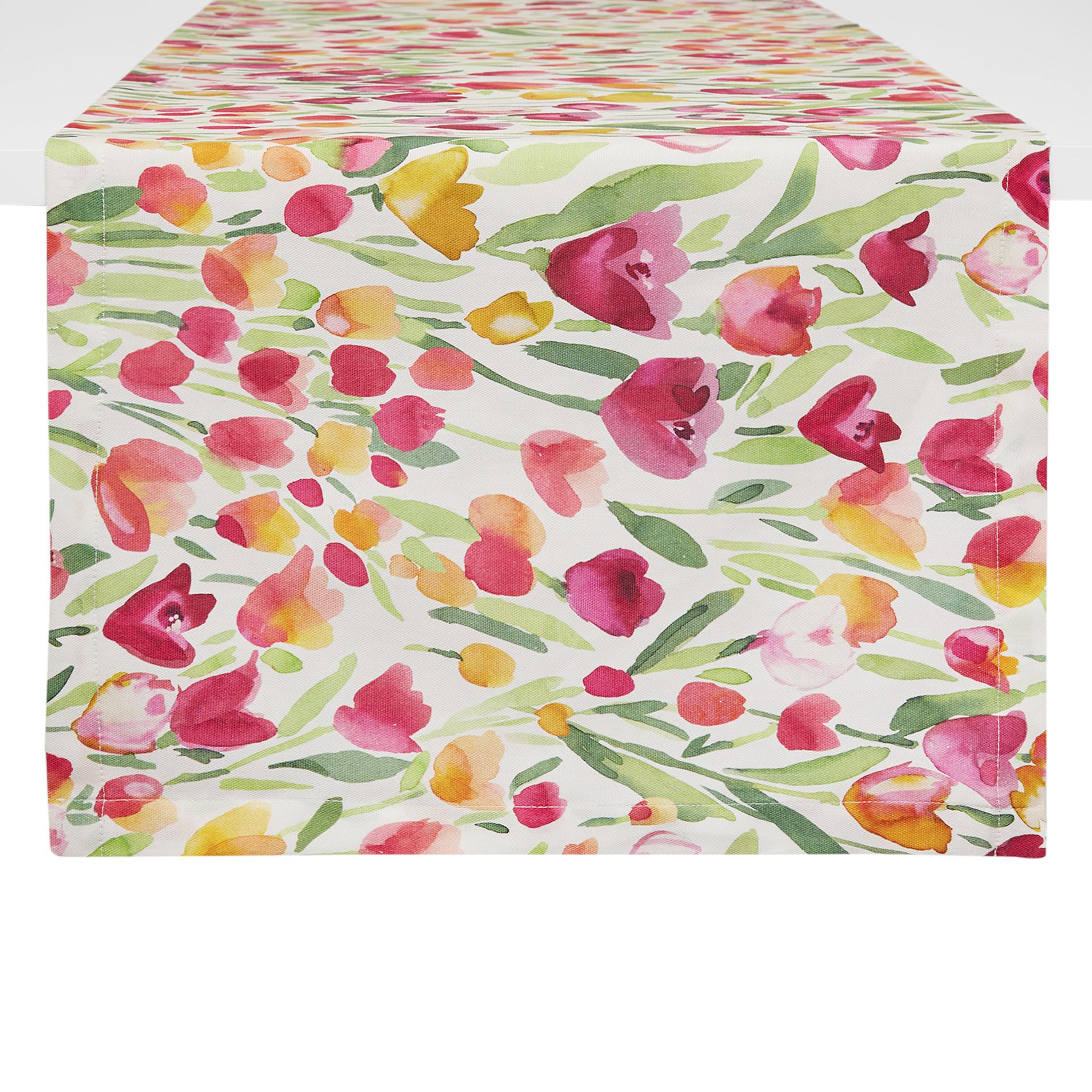 Runner puro cotone stampa tulipani, Multicolor, large image number 0