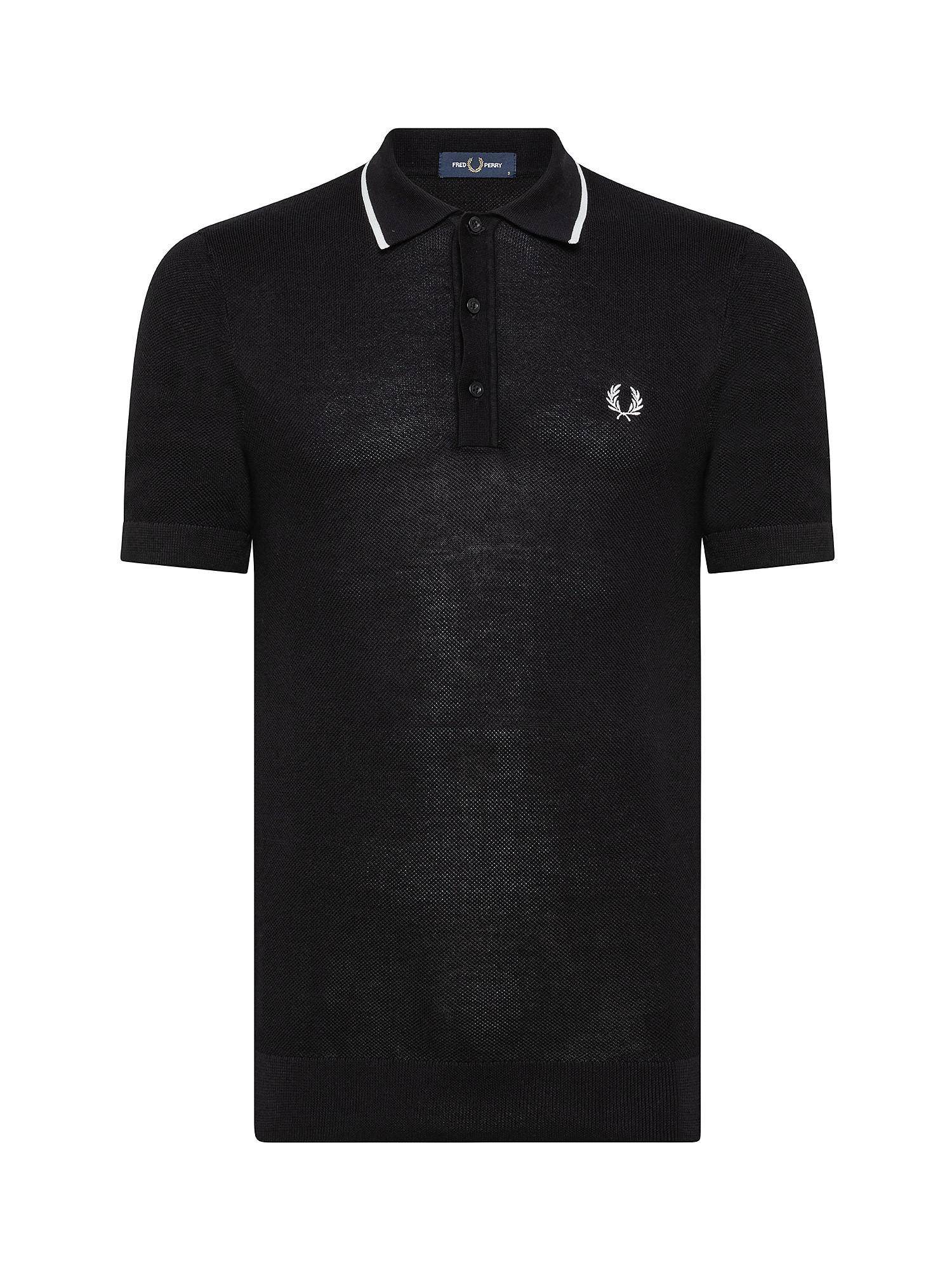 Polo in maglia con riga, Nero, large image number 0