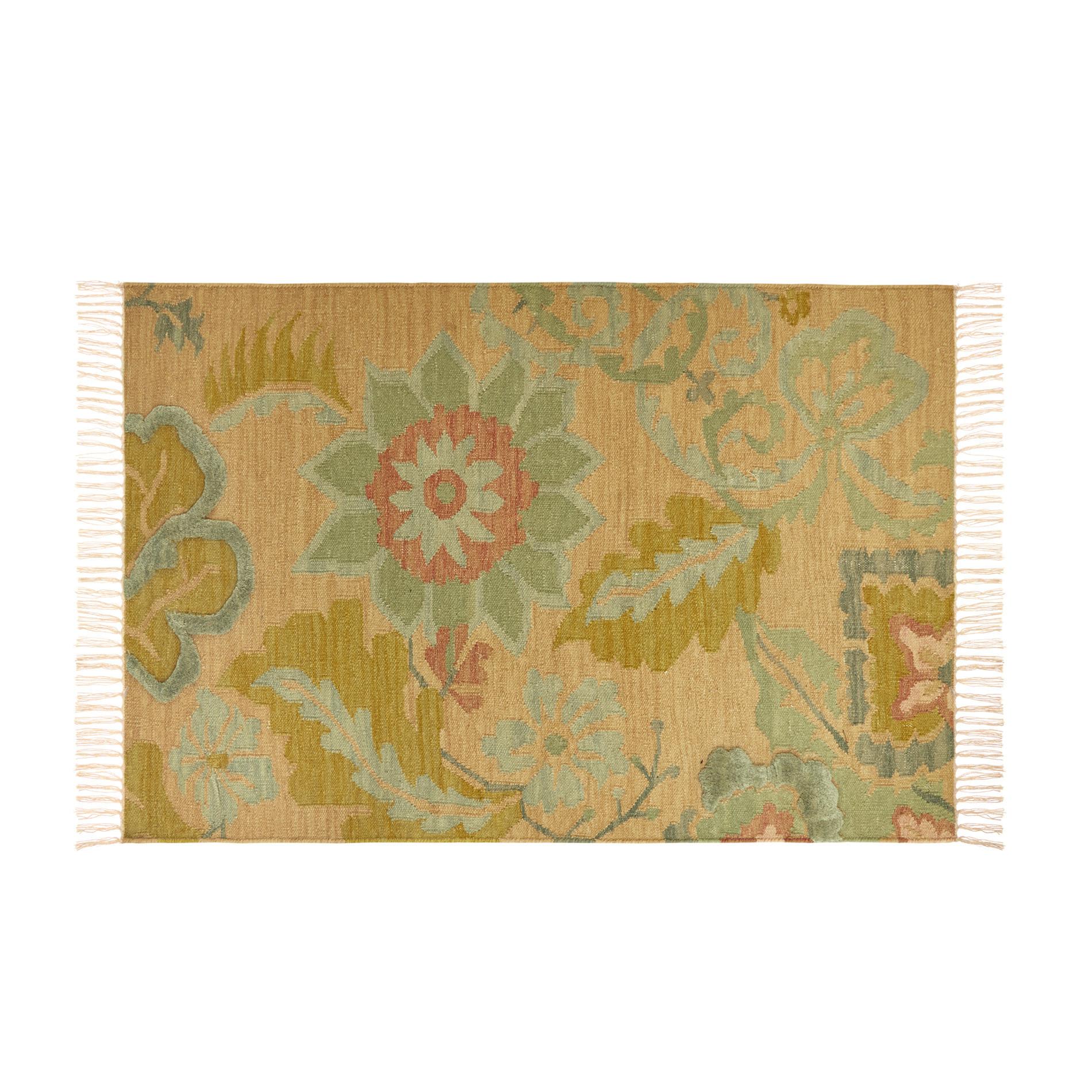 Tappeto in lana e cotone motivo floreale, Multicolor, large image number 0