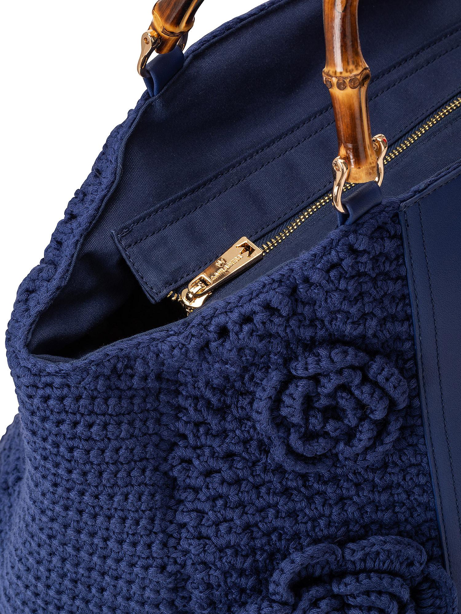 Shopper Crochet con applicazioni, Blu, large image number 2