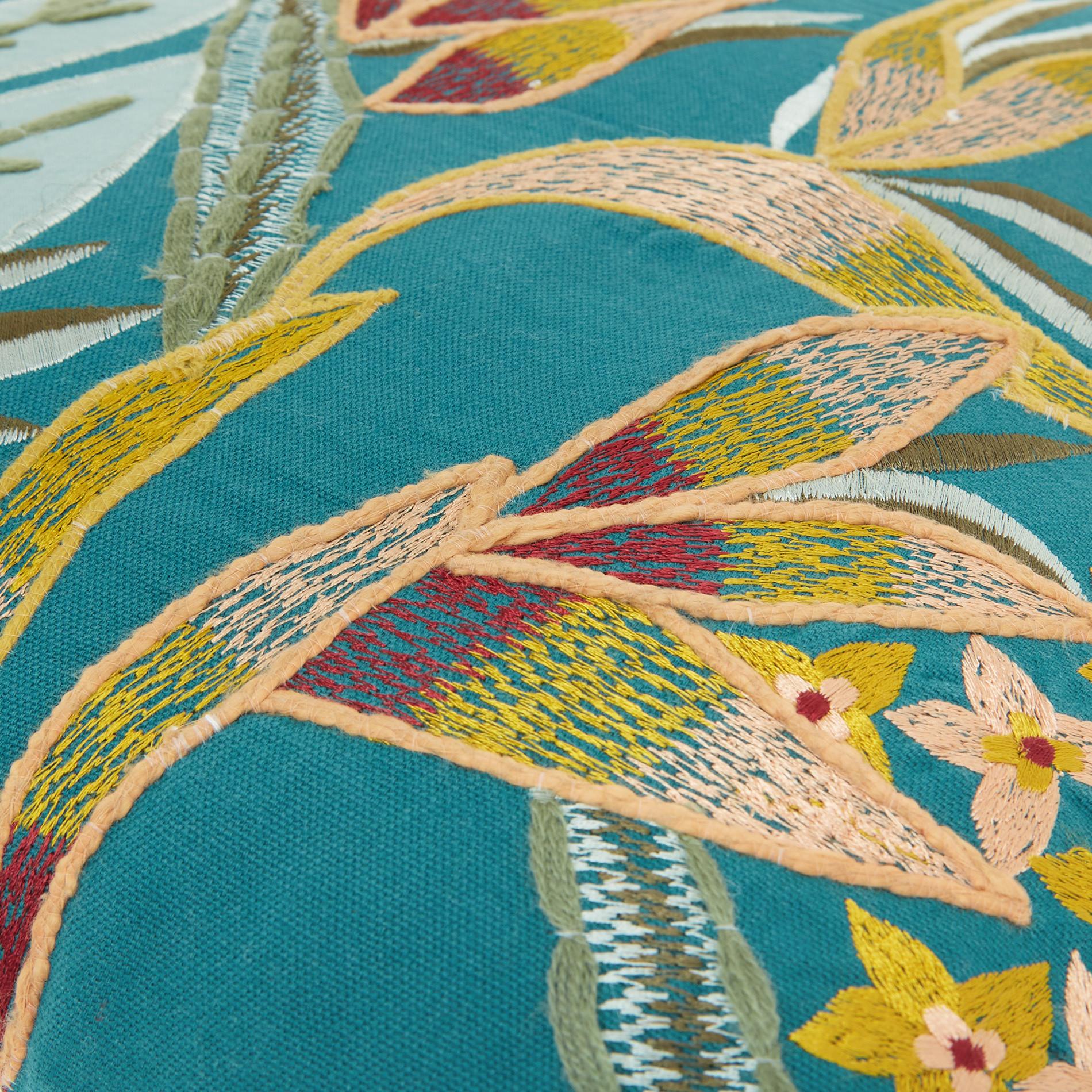 Cuscino ricamo foglie 45x45cm, Verde smeraldo, large image number 3