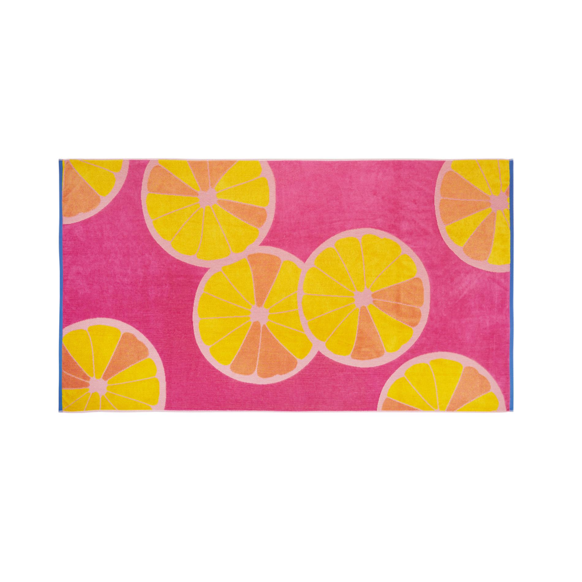 Telo mare in spugna di cotone motivo limoni, Rosa chiaro, large image number 0