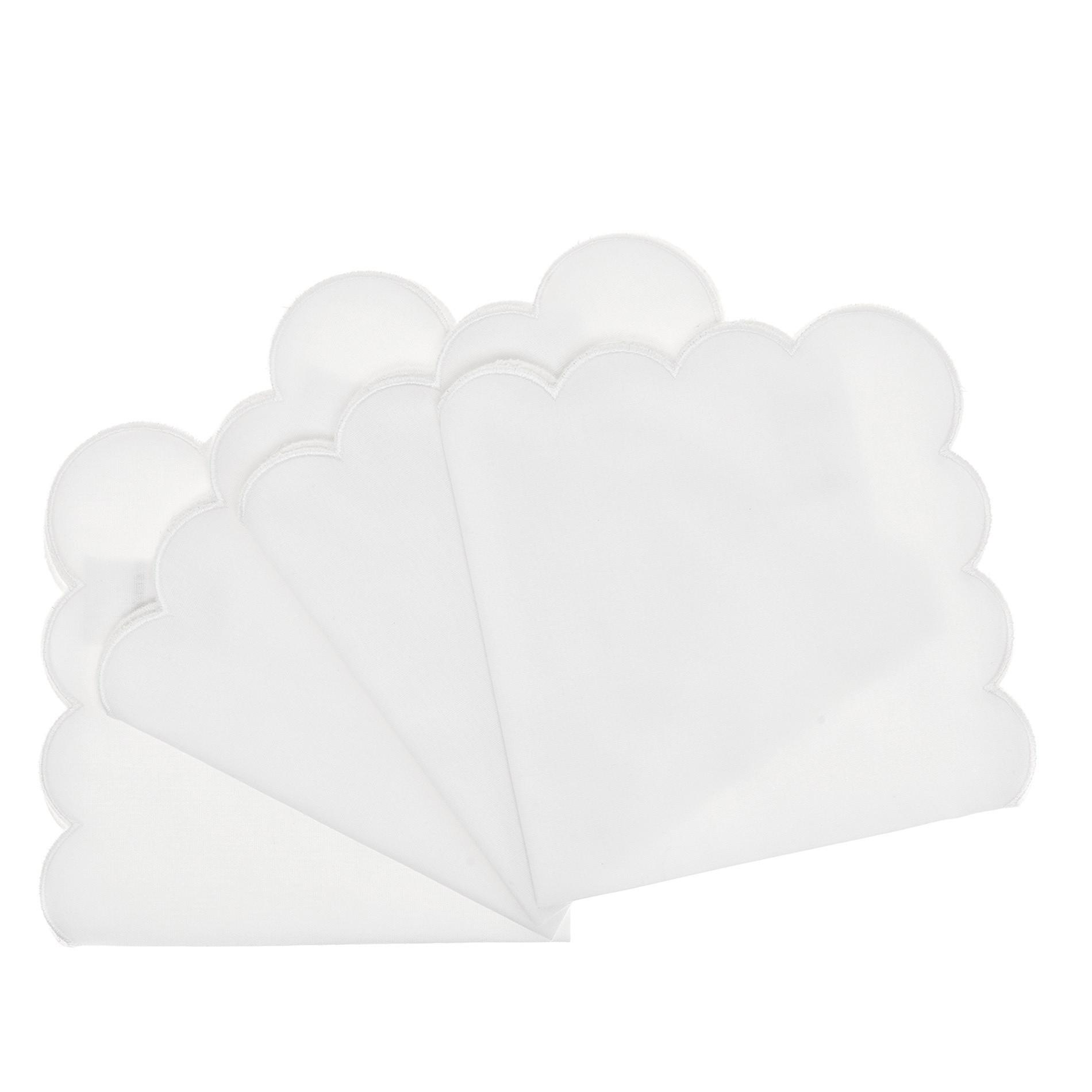 Set 4 tovaglioli puro cotone bordi ondulati, Bianco, large image number 0