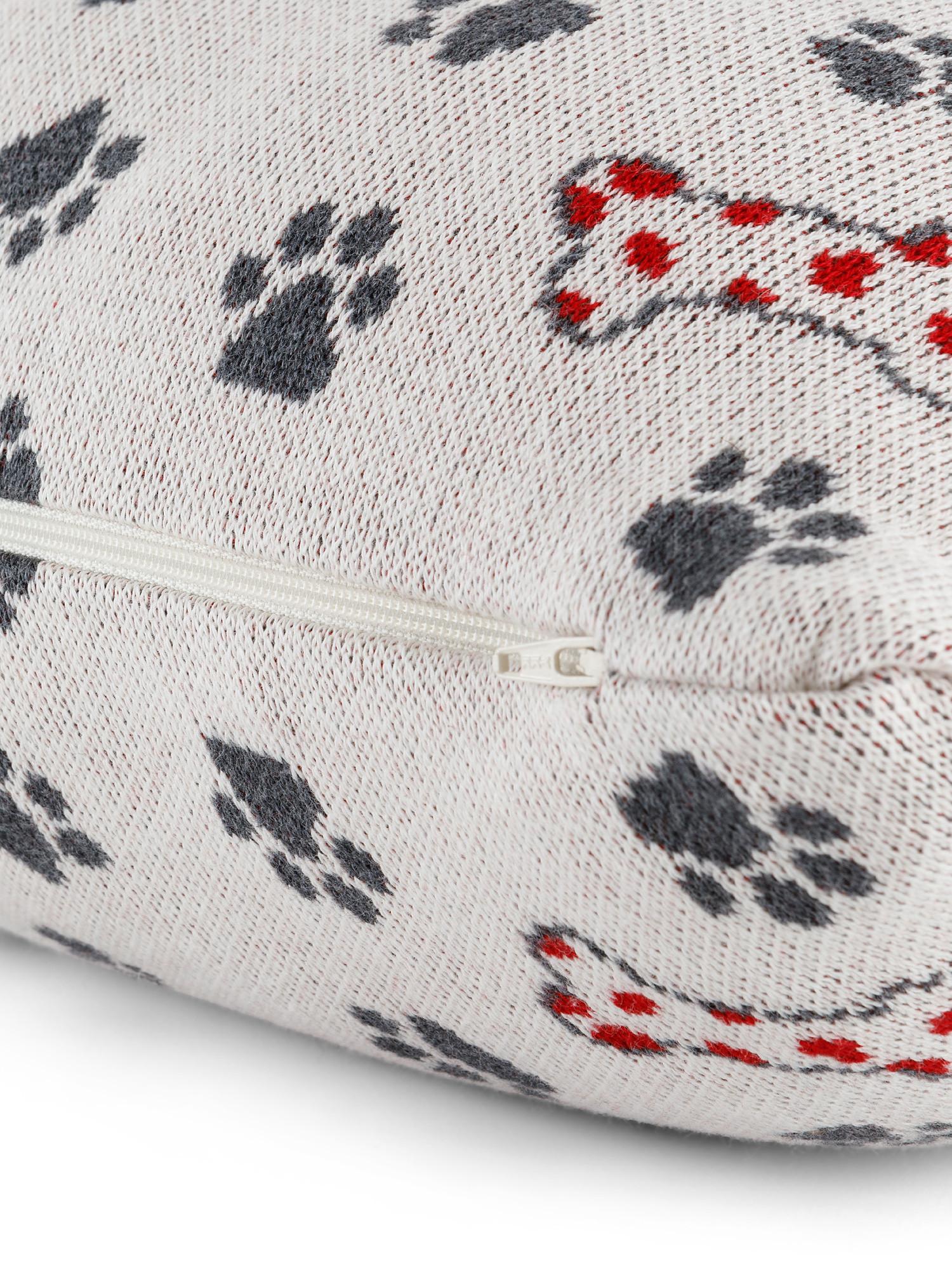 Cuscino maglia di cotone motivo zampette, Beige chiaro, large image number 1