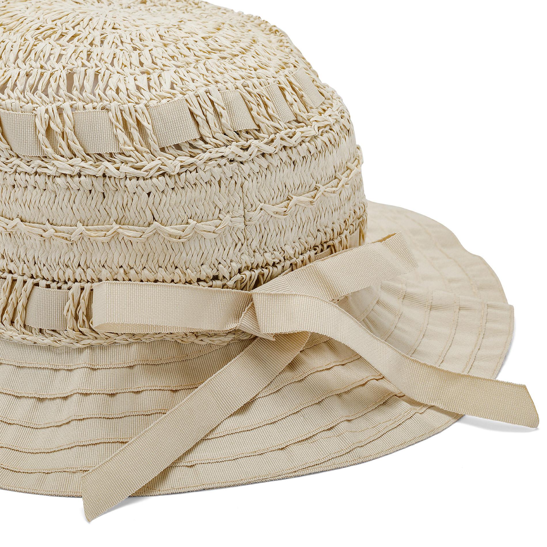 Capello di paglia con merletto Koan, Beige, large image number 1