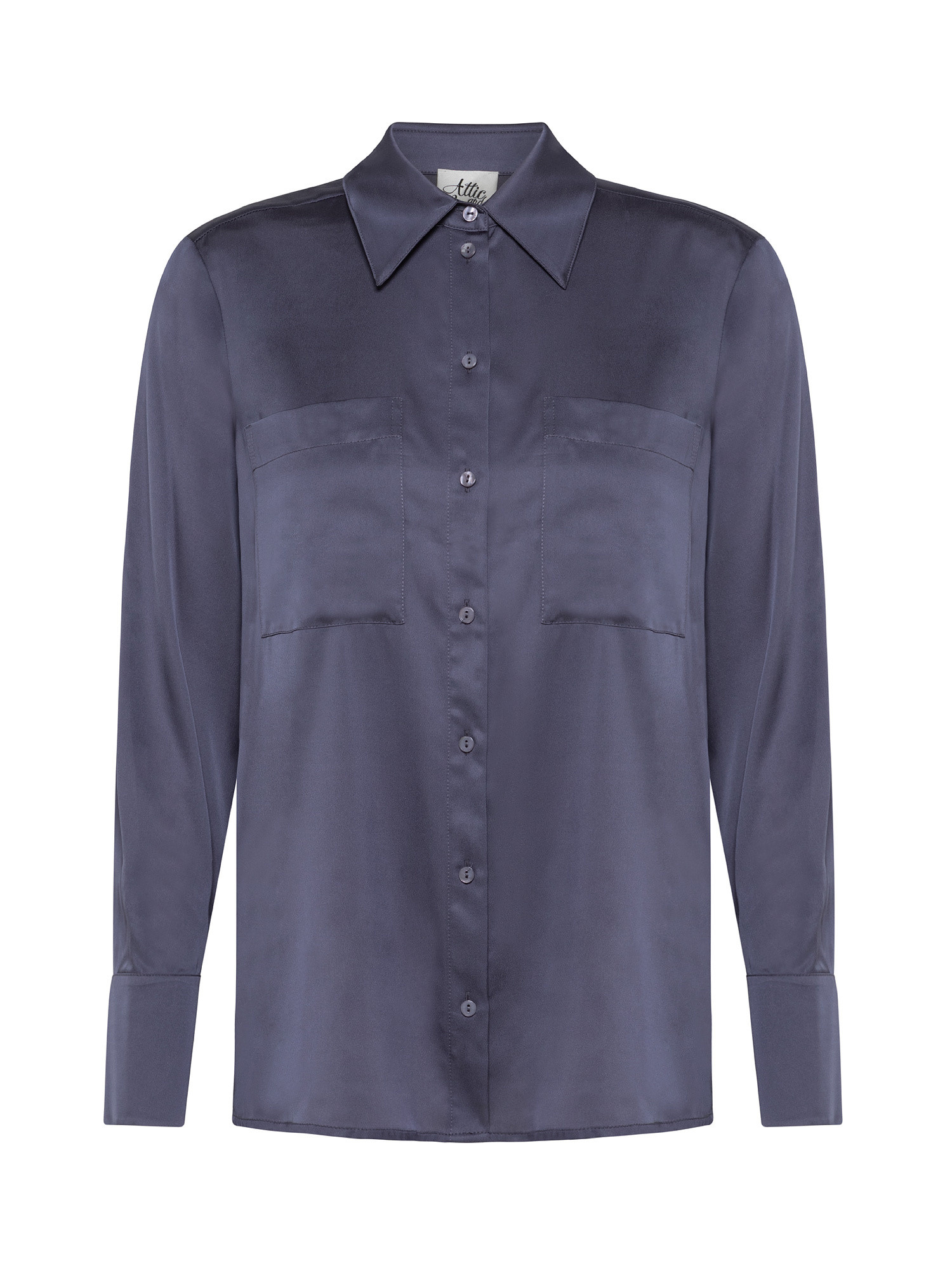 Camicia in viscosa seta stretch, Grigio, large image number 0