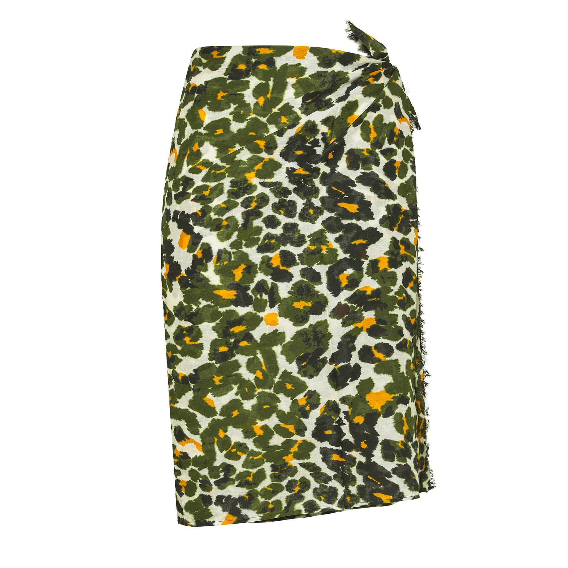Pareo puro cotone stampa animalier Koan, Verde scuro, large image number 0