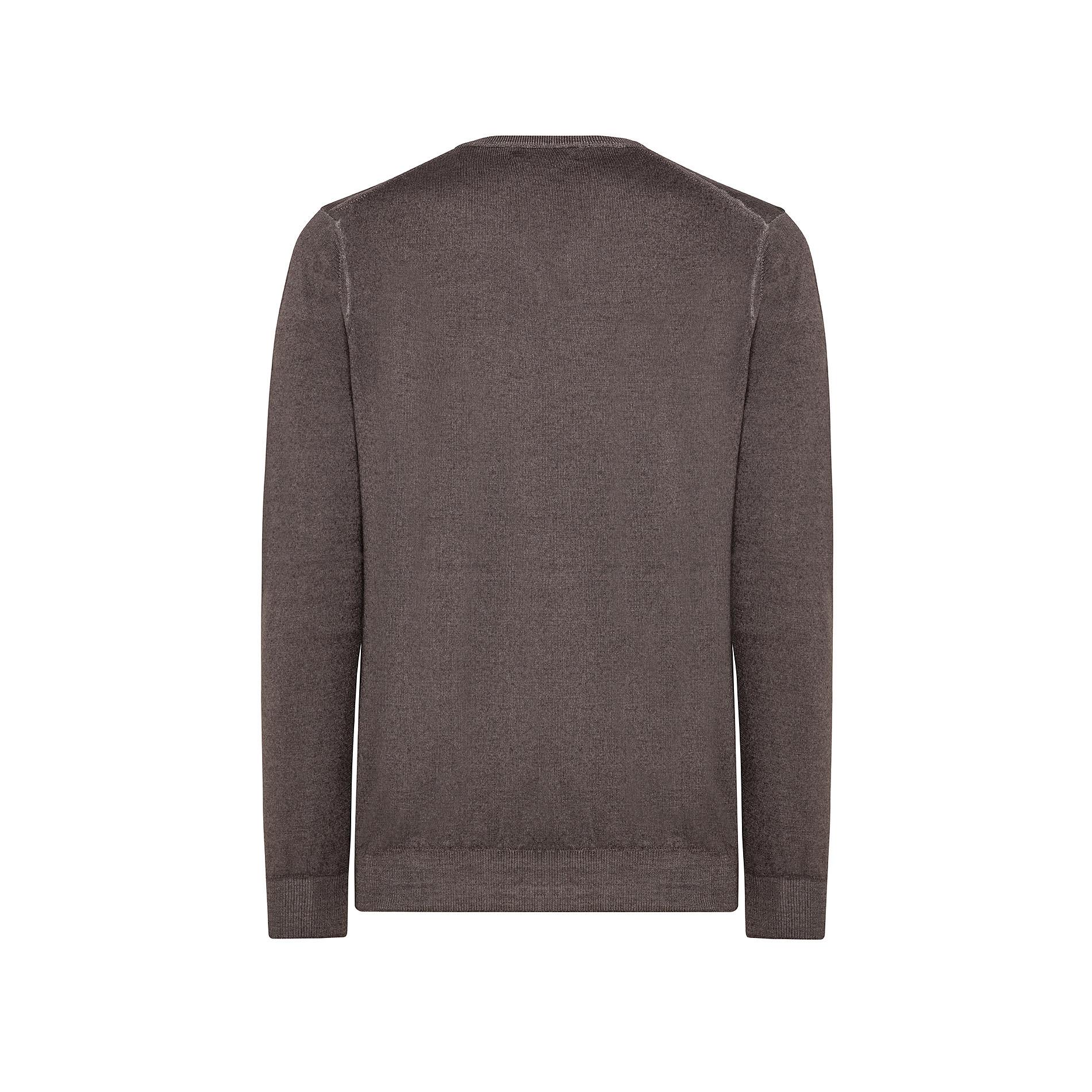 Pullover lana merinos scollo a V, Marrone scuro, large image number 1