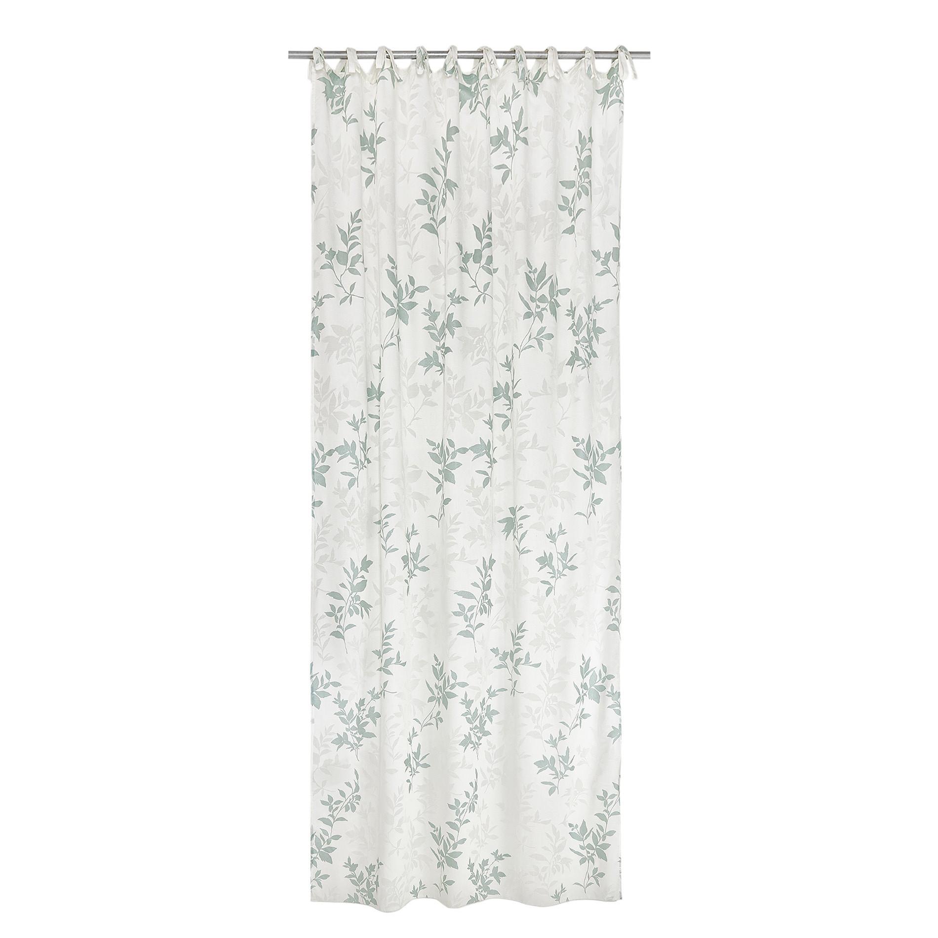Tenda tessuto devore floreale con laccetti, Beige chiaro, large image number 1
