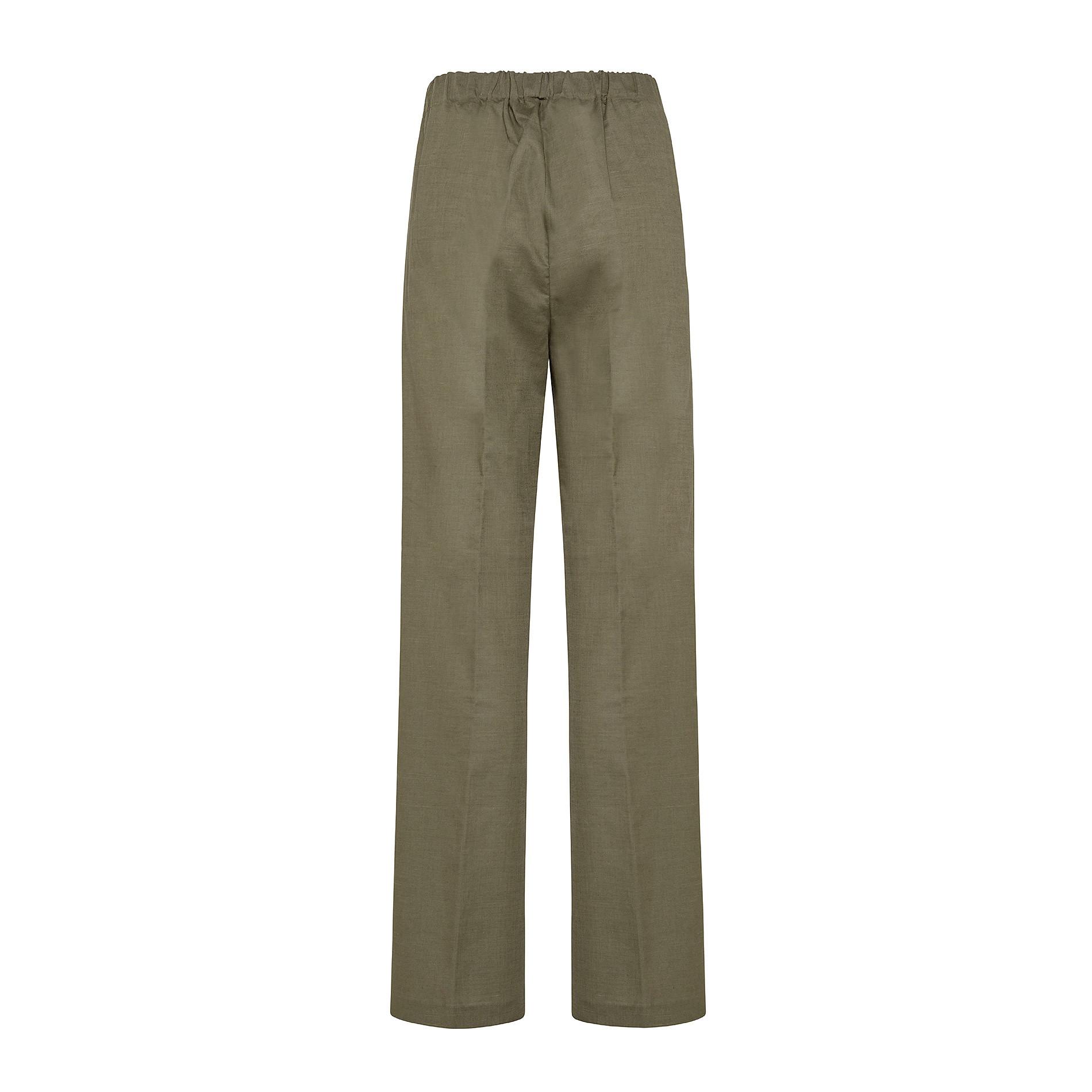 Pantalone misto lino con elastico Koan, Verde scuro, large image number 1