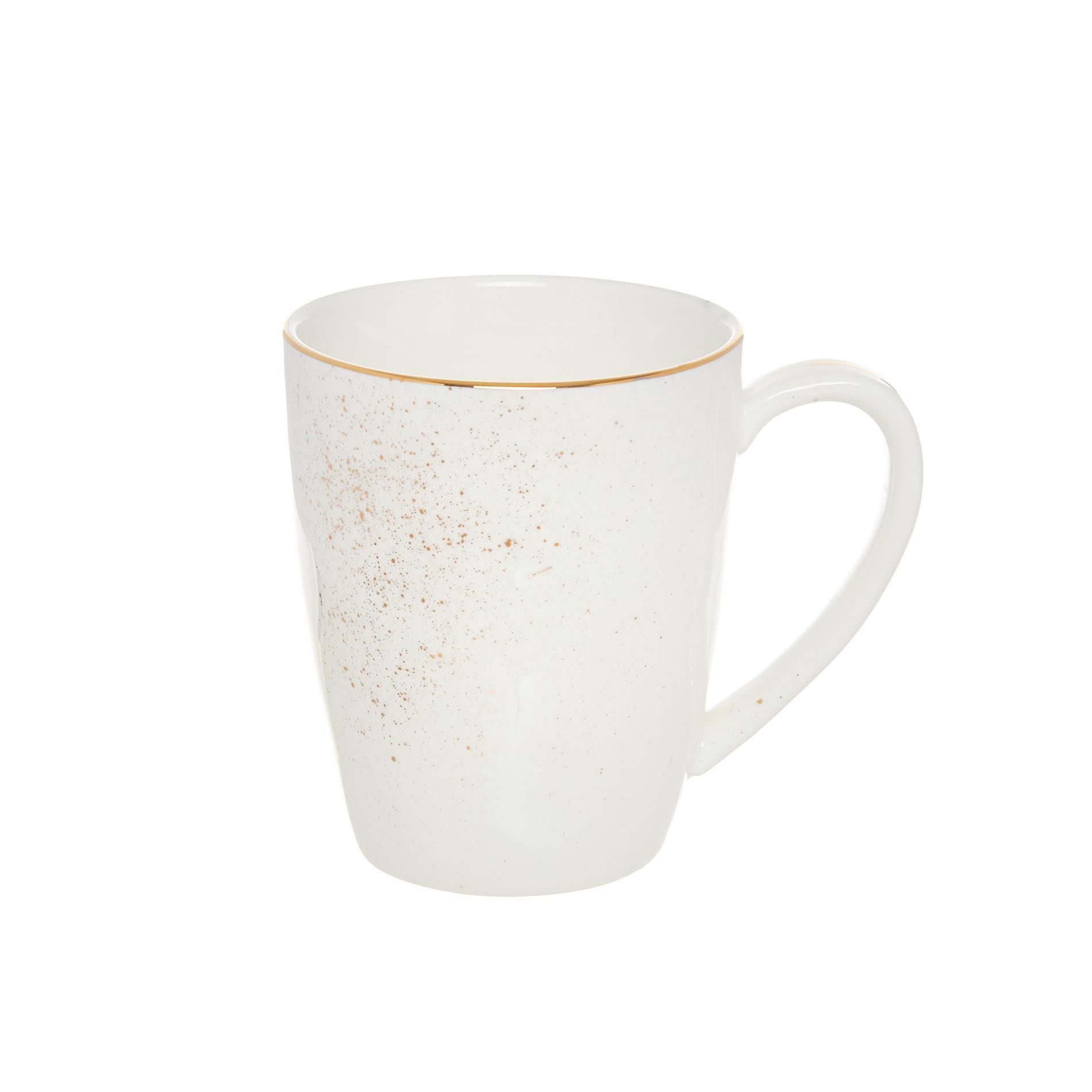 Mug porcellana spruzzata oro, Bianco, large image number 0