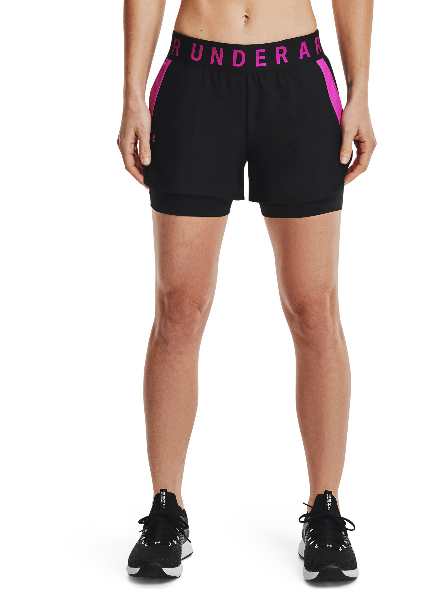 Shorts allenamento donna, Nero/Rosso, large image number 4