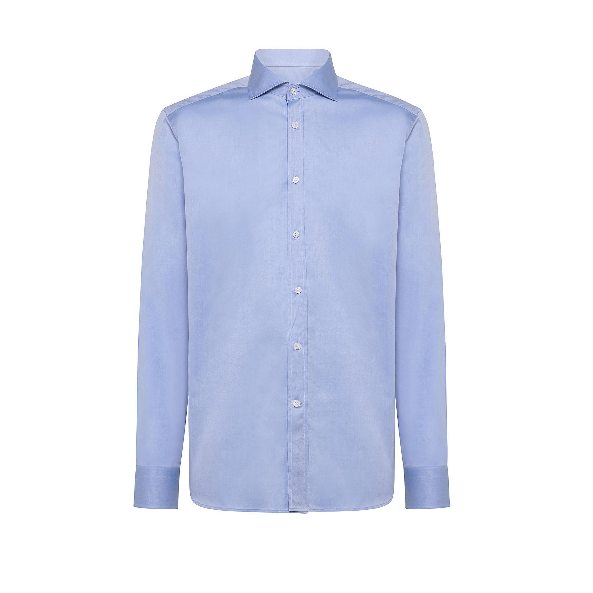 Camicia colletto francese in twill di cotone, Azzurro, large image number 0