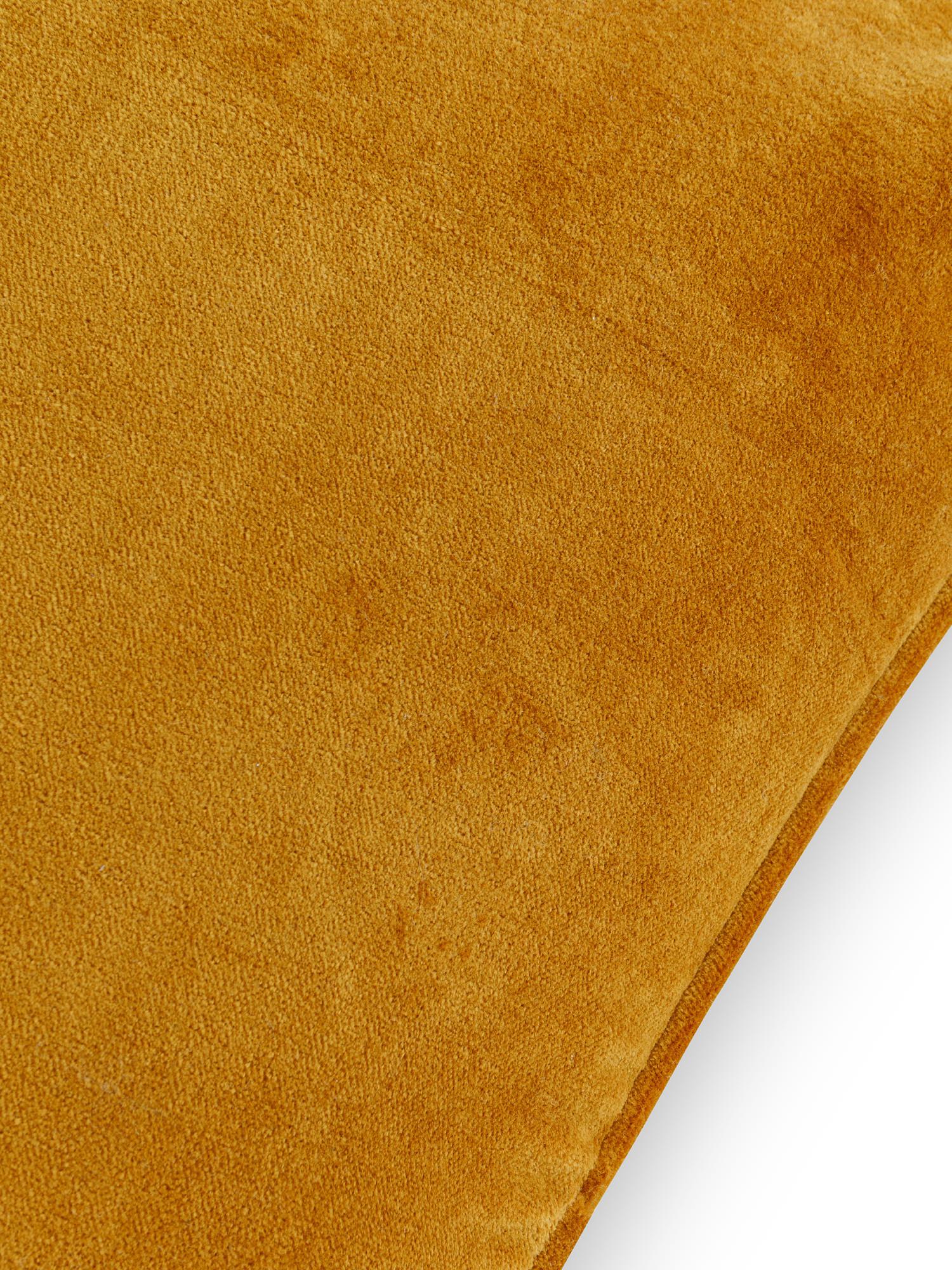 Cuscino velluto di cotone tinta unita 45x45cm, Giallo ocra, large image number 2