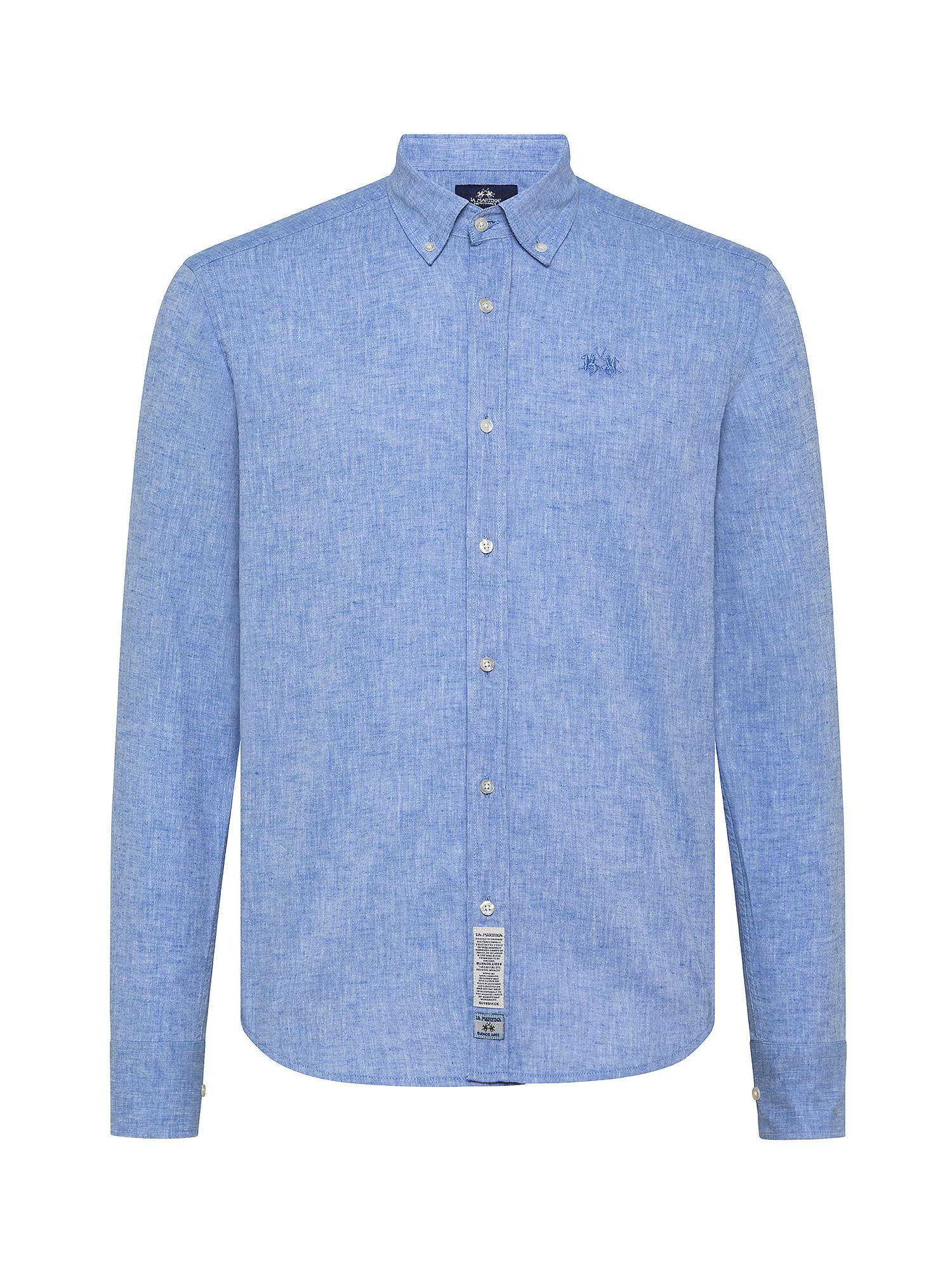 Camicia da uomo in cotone misto lino regular fit, Azzurro, large image number 0