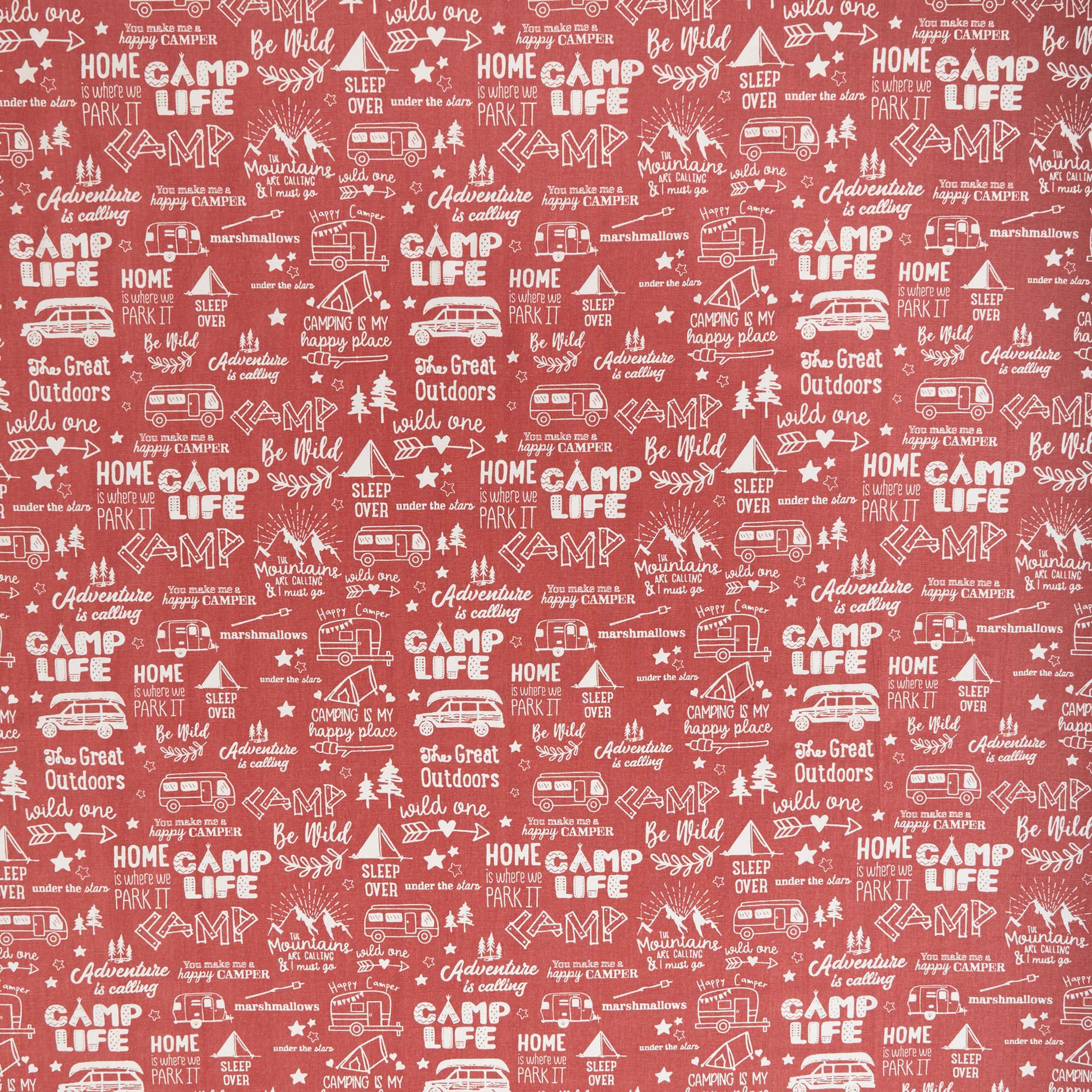 Tovaglia puro cotone stampa camping, Rosa scuro, large image number 1