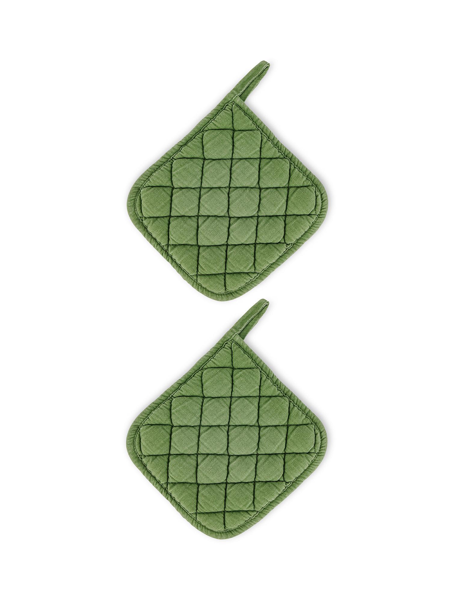 Set 2 presine puro cotone garment washed, Verde, large image number 0
