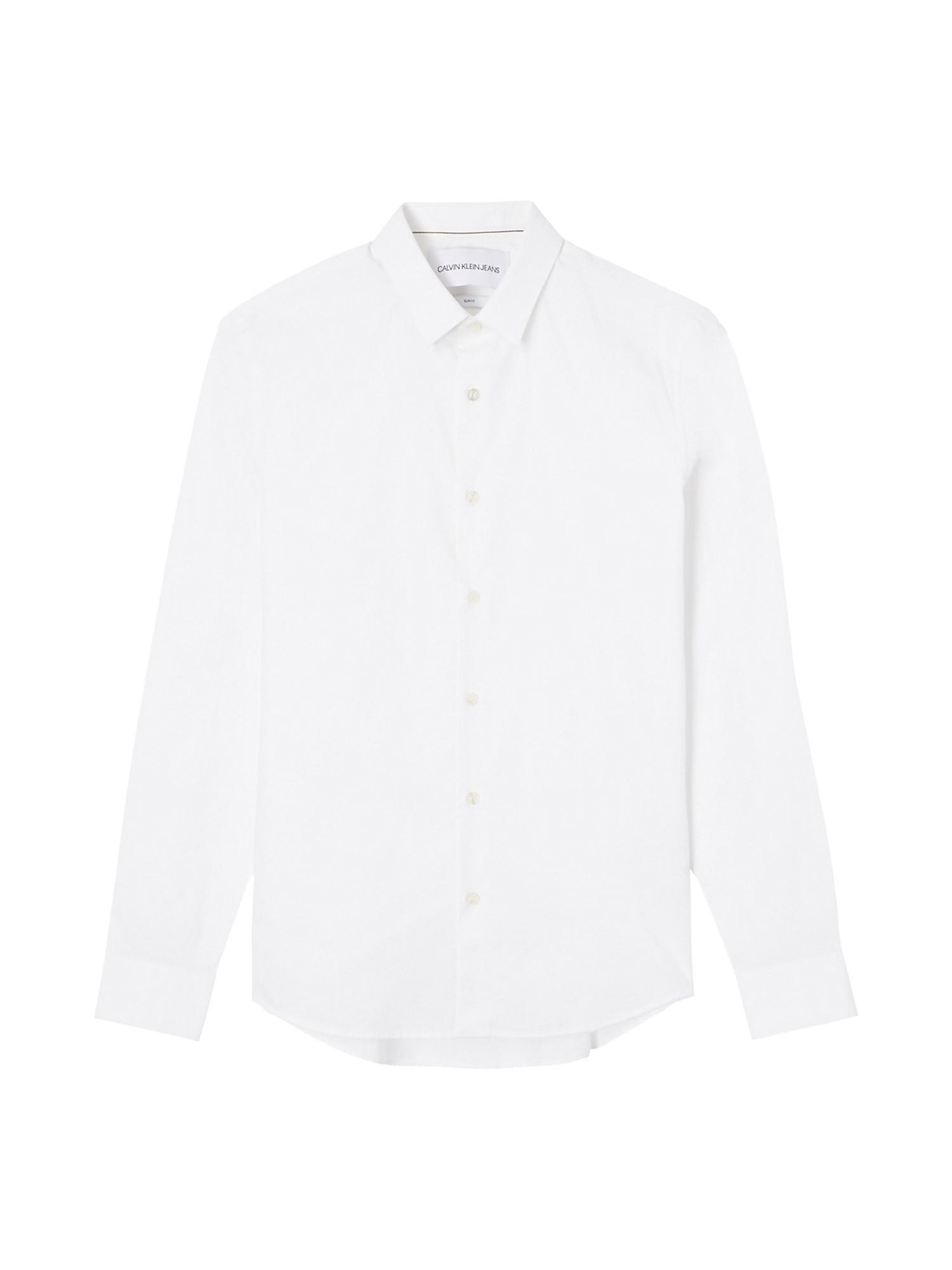 Camicia in cotone elasticizzato, Bianco, large image number 1