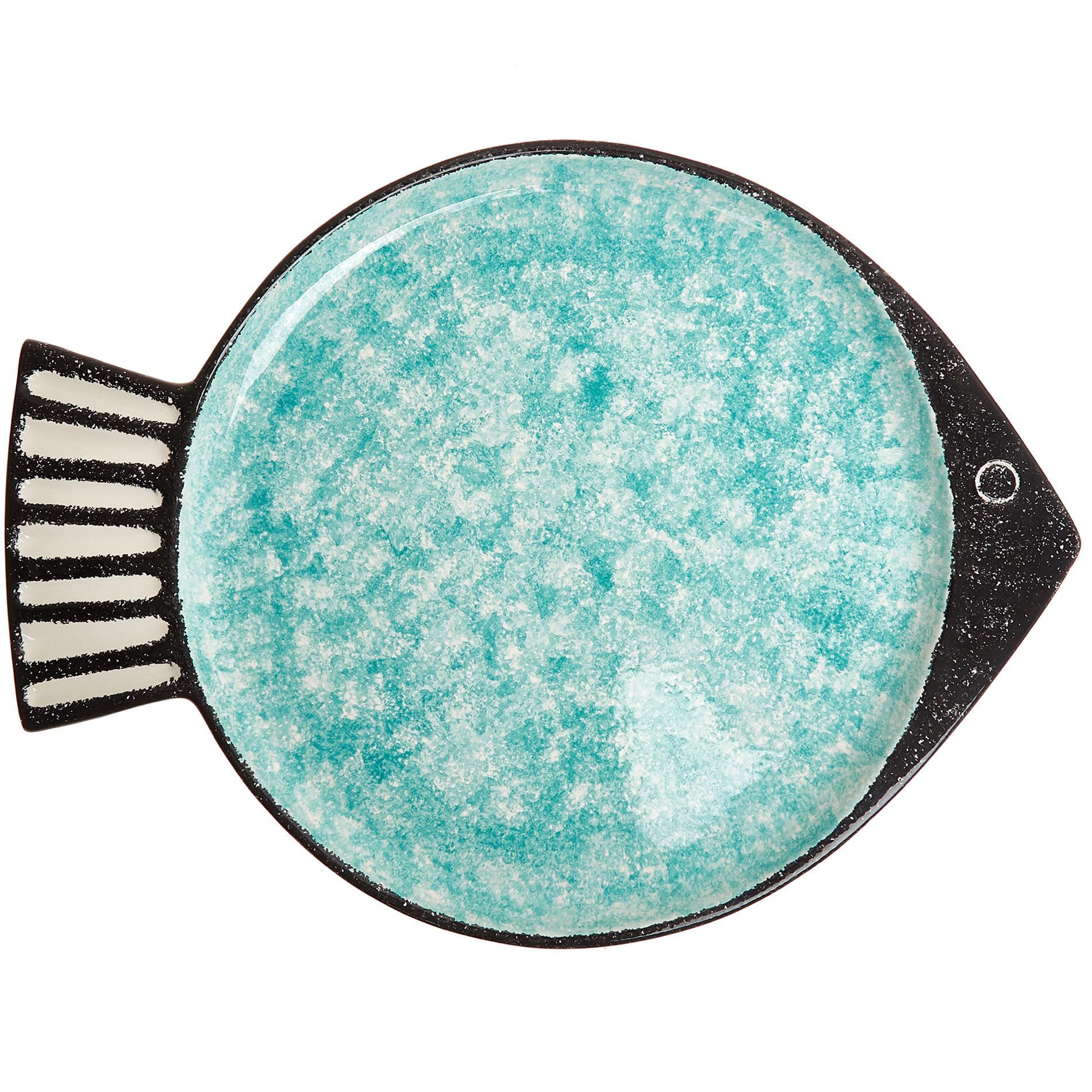 Piatto da portata ceramica a pesce, Verde acqua, large image number 0