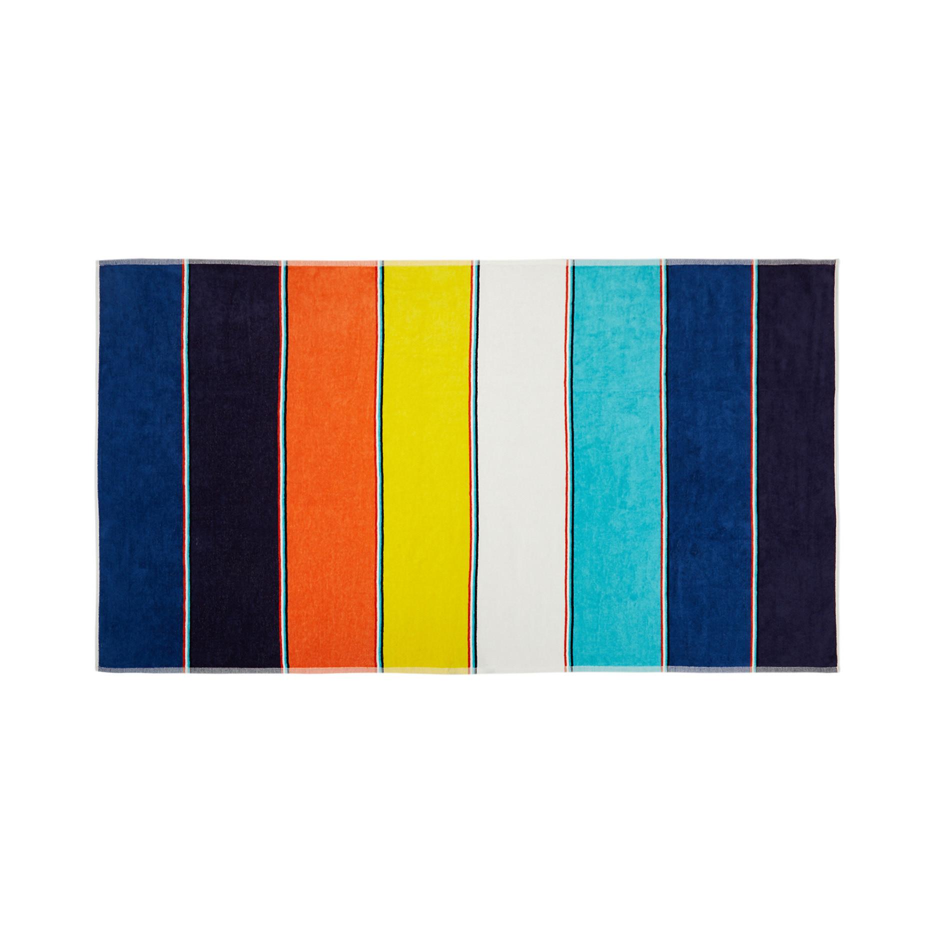 Telo mare cotone velour stampa a righe multicolore, Multicolor, large image number 0
