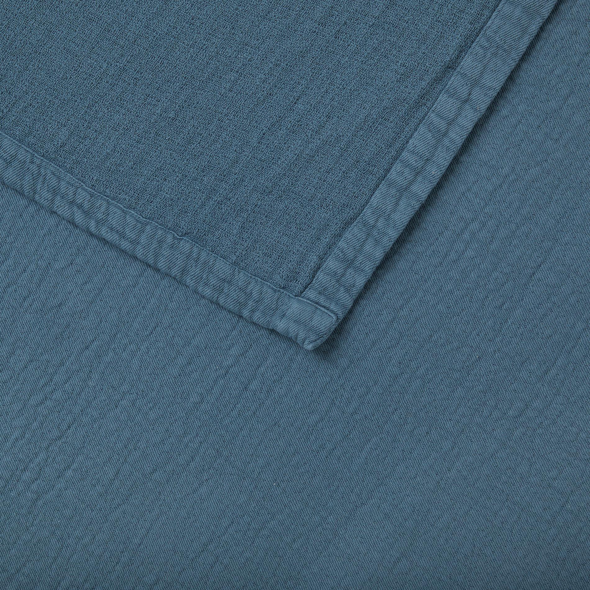 Copriletto garza di cotone tinta unita, Blu scuro, large image number 1