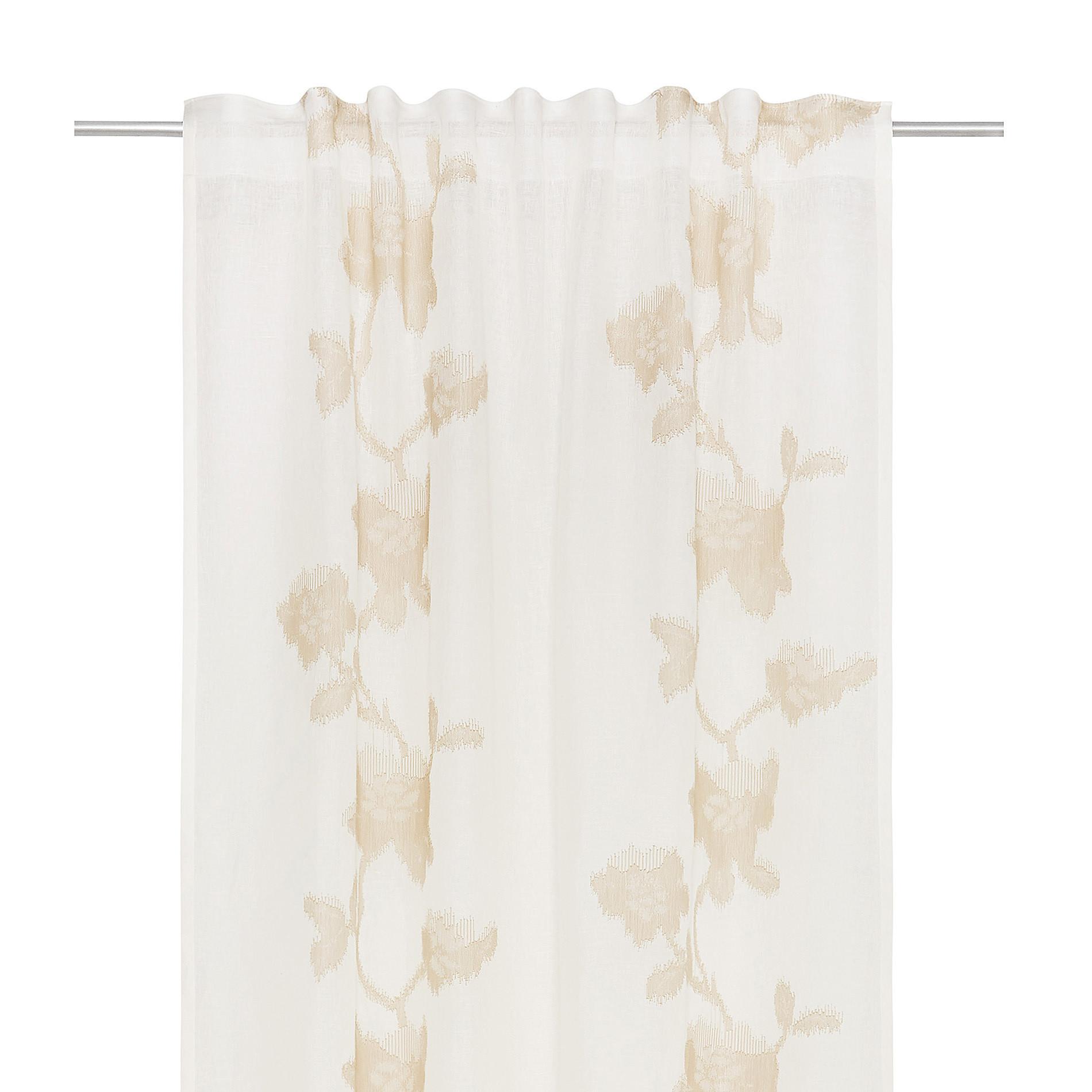 Tenda puro lino ricami floreali, Bianco/Oro, large image number 2