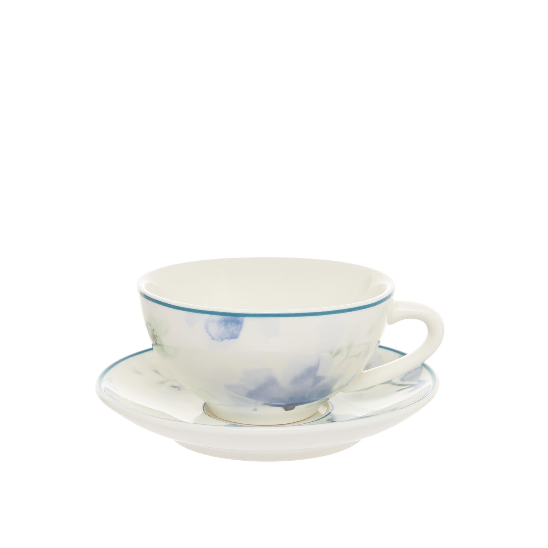 Tazza da caffe new bone china motivo floreale, Bianco panna, large image number 0