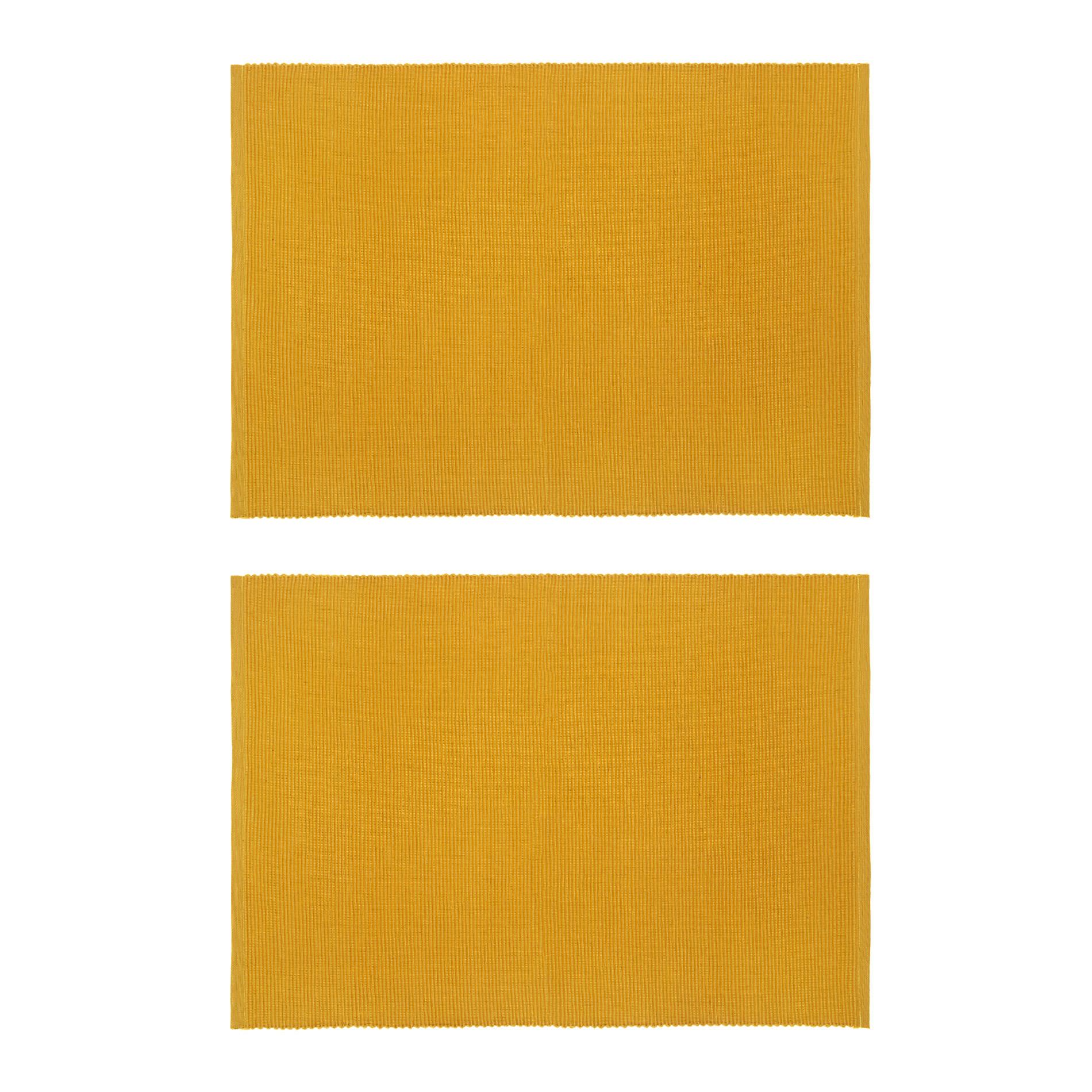 Set 2 tovagliette puro cotone tinta unita, Giallo ocra, large image number 0