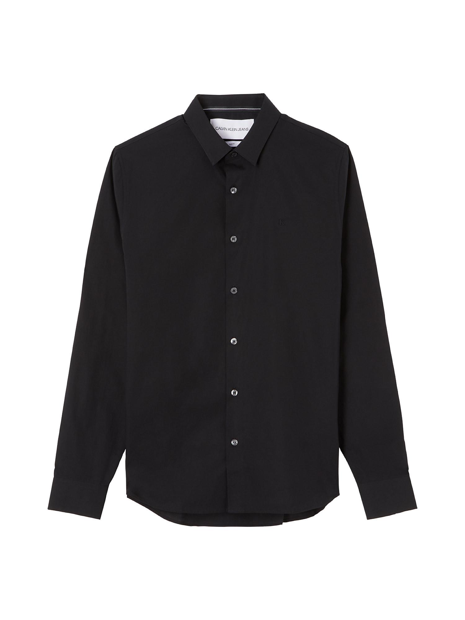 Camicia in cotone elasticizzato, Nero, large image number 1