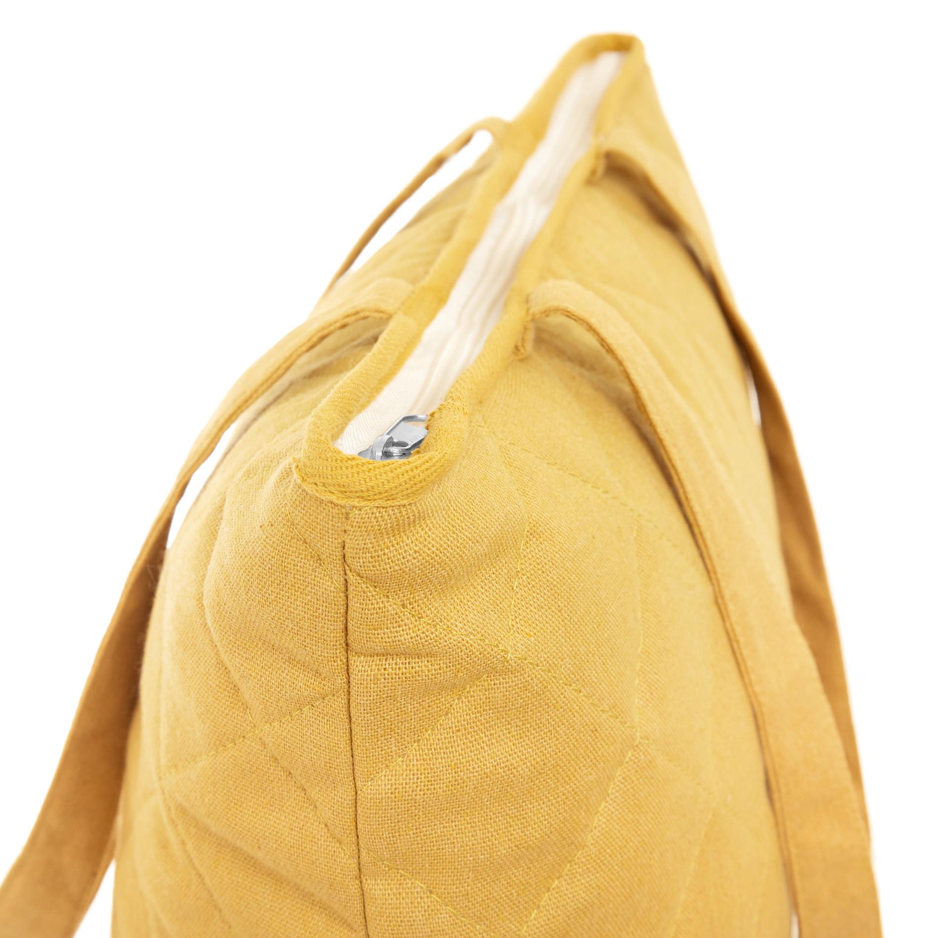 Shopper bag tessuto trapuntato, Giallo, large image number 1