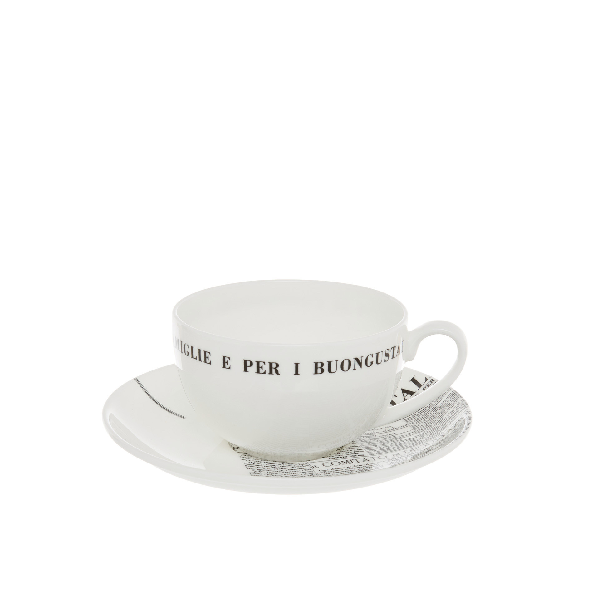 Tazza tea fine bone china decoro geometric La Cucina Italiana, Bianco, large image number 0