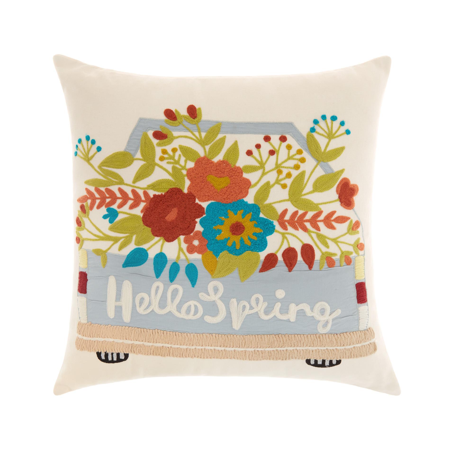 Cuscino ricamo floreale 45x45cm, Bianco, large image number 0