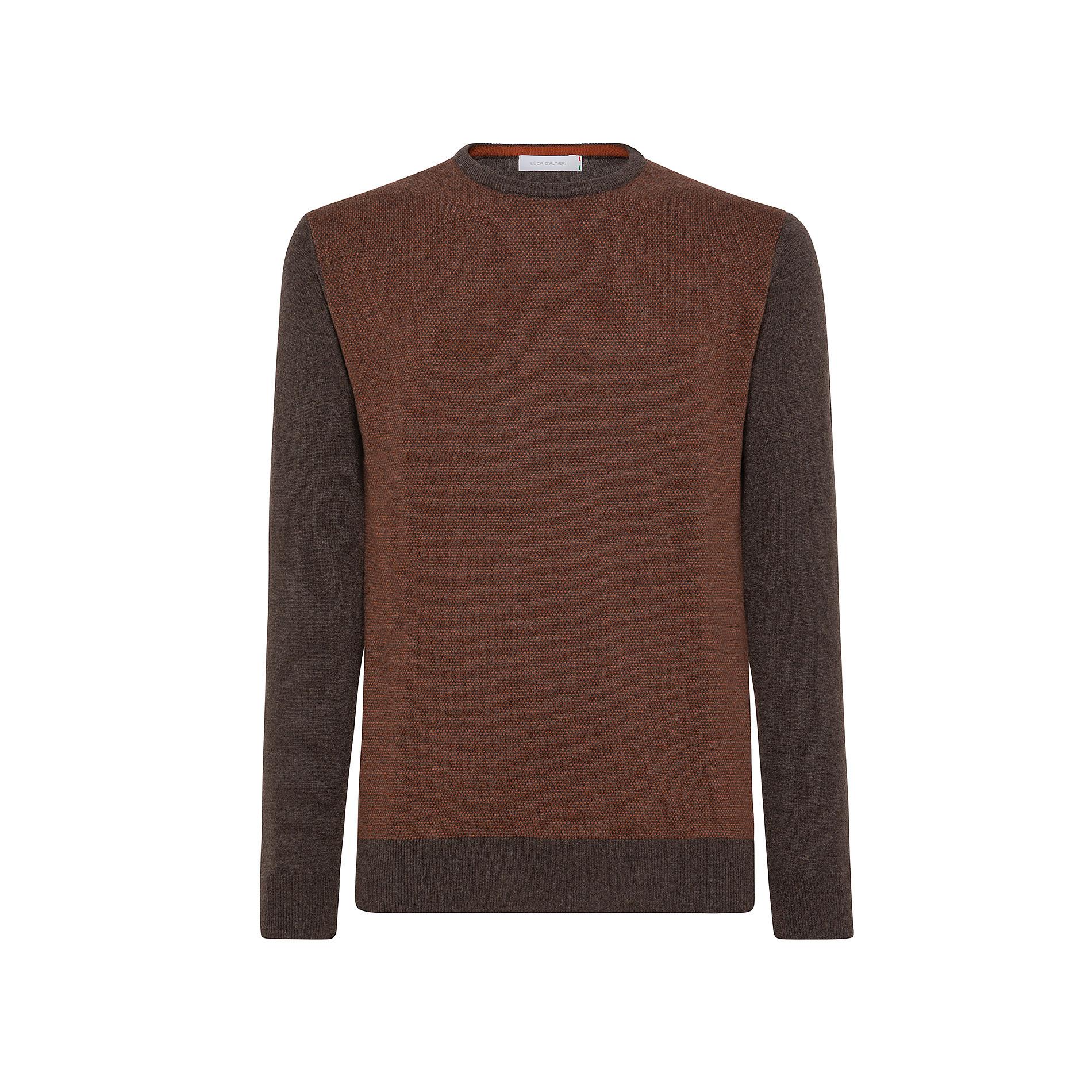 Pullover girocollo misto lana motivo piquet, Marrone, large image number 0