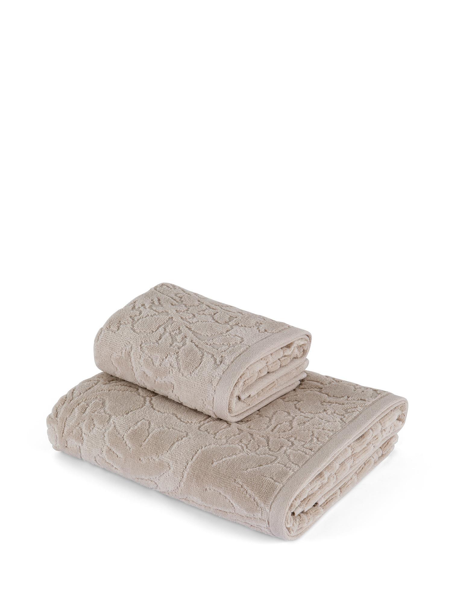 Asciugamano cotone velour tinta unita, Beige, large image number 0