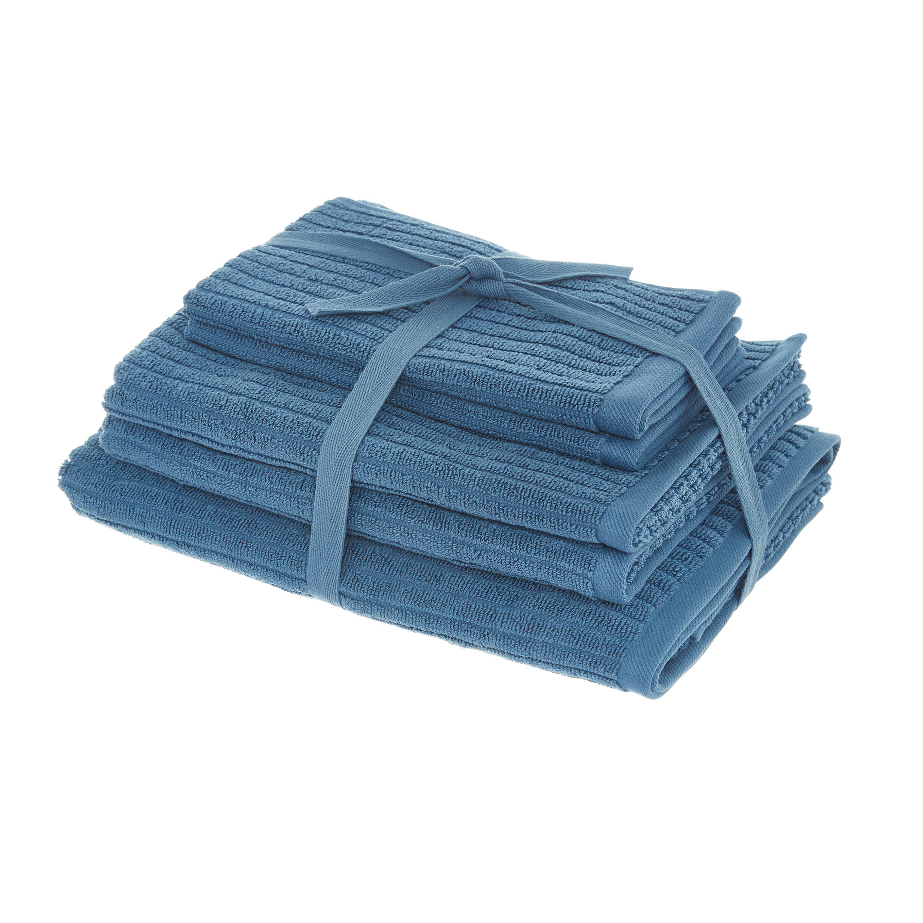 Set asciugamani puro cotone righe jacquard tinta unita, Blu, large image number 0