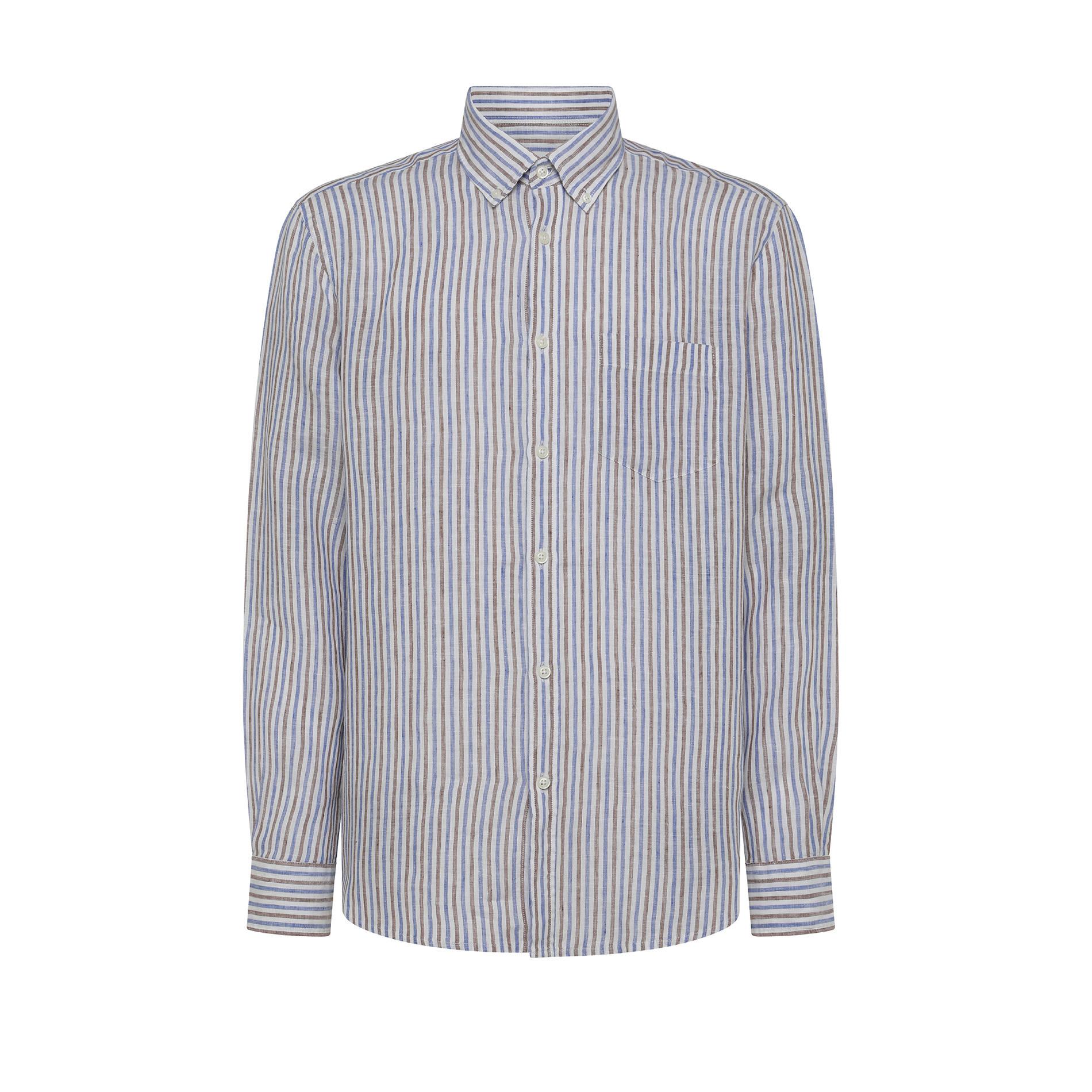 Camicia puro lino regular fit Luca D'Altieri, Azzurro, large image number 0
