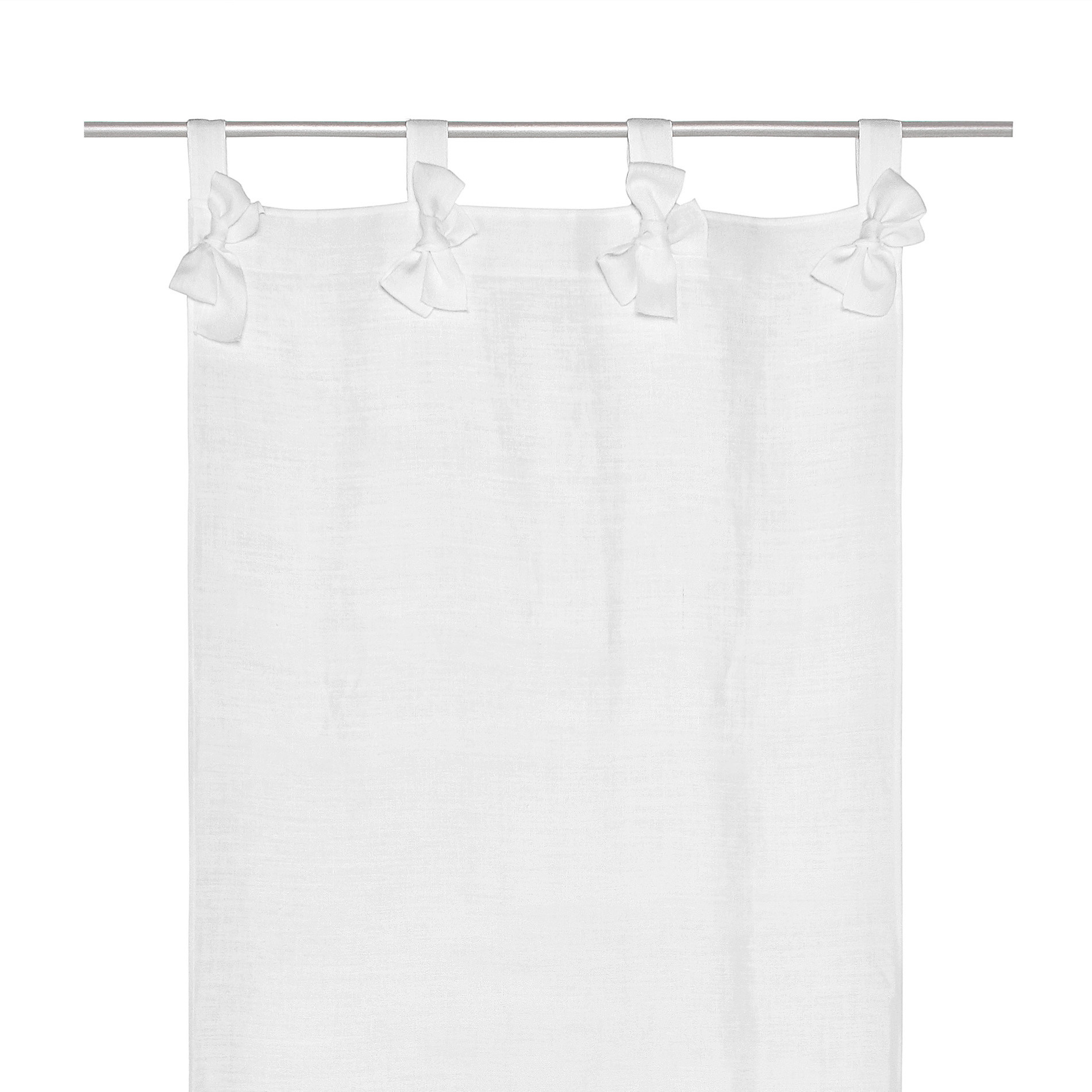 Tendina misto lino con fiocchetti, Bianco, large image number 0