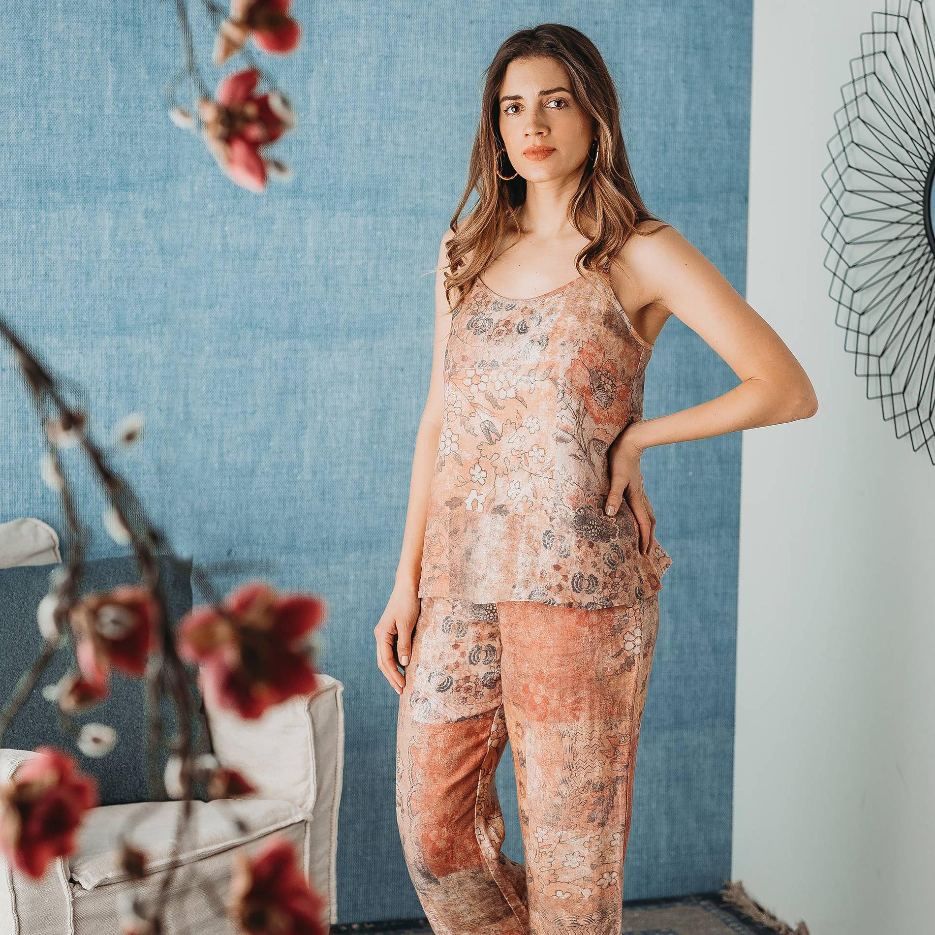 Pantalone morbido in puro lino fantasia floreale, Multicolor, large image number 2