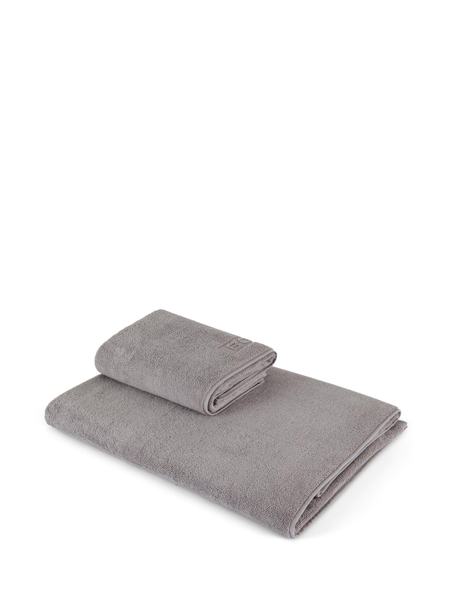 Asciugamano capelli spugna di cotone tinta unita, Grigio, large image number 0