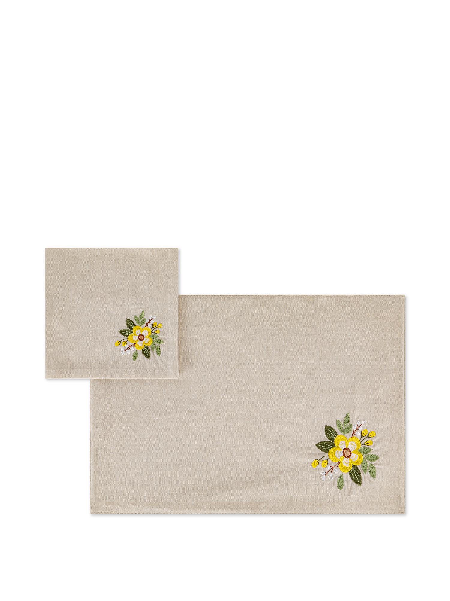 Set tovaglietta e tovagliolo puro cotone ricamo fiore, Beige, large image number 0