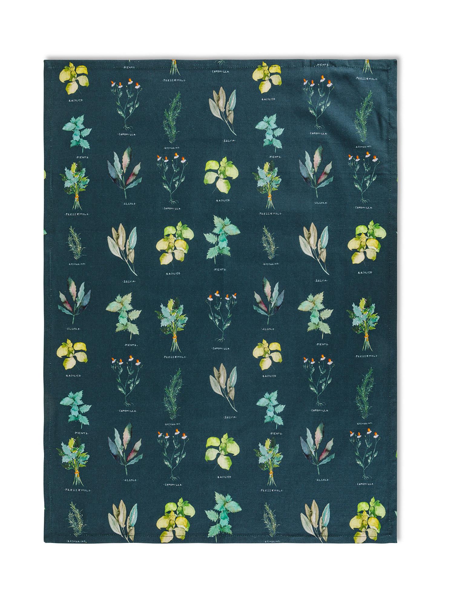 Set 3 strofinacci puro cotone organico stampa erbe, Verde, large image number 3