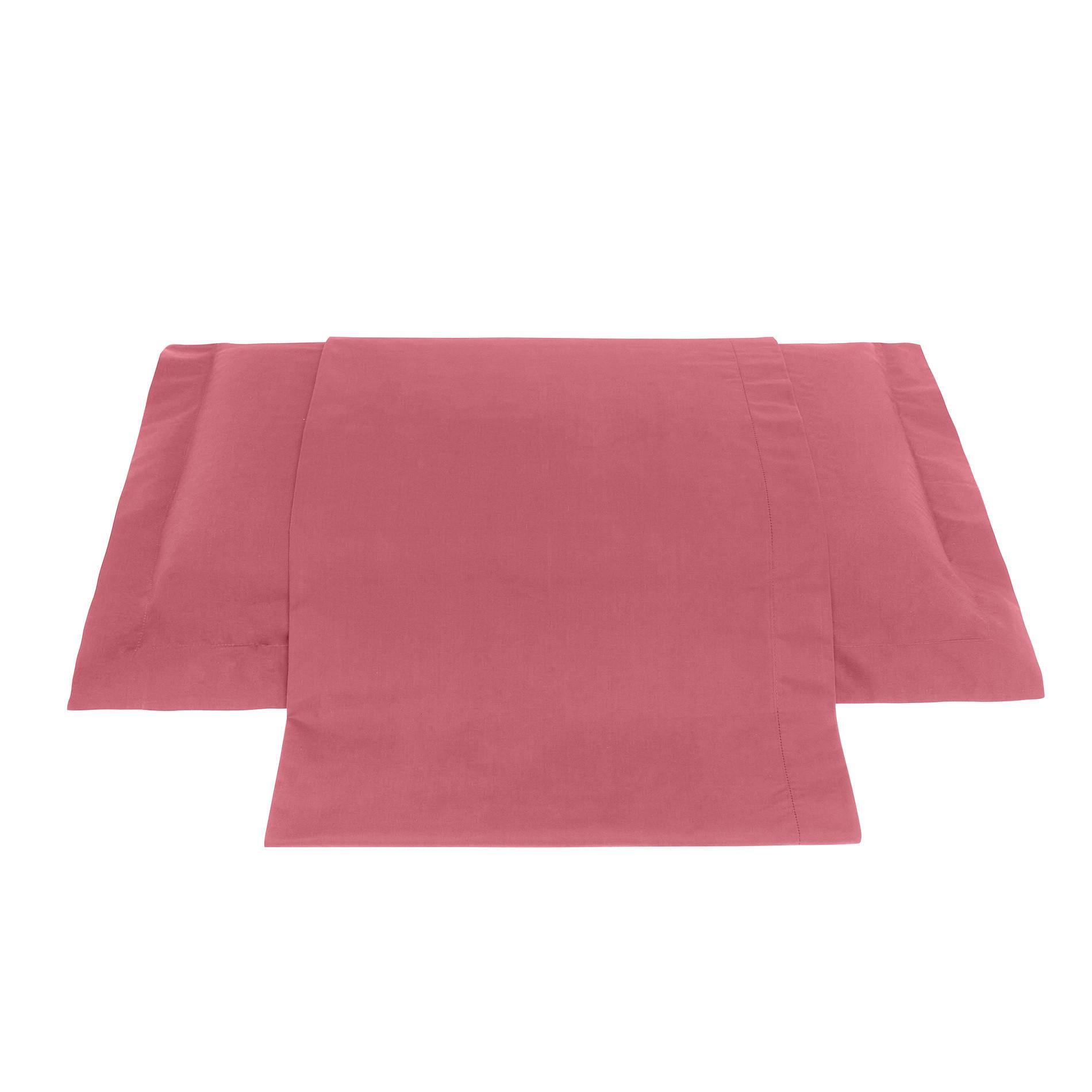 Lenzuolo liscio in percalle tinta unita Zefiro, Rosa scuro, large image number 0