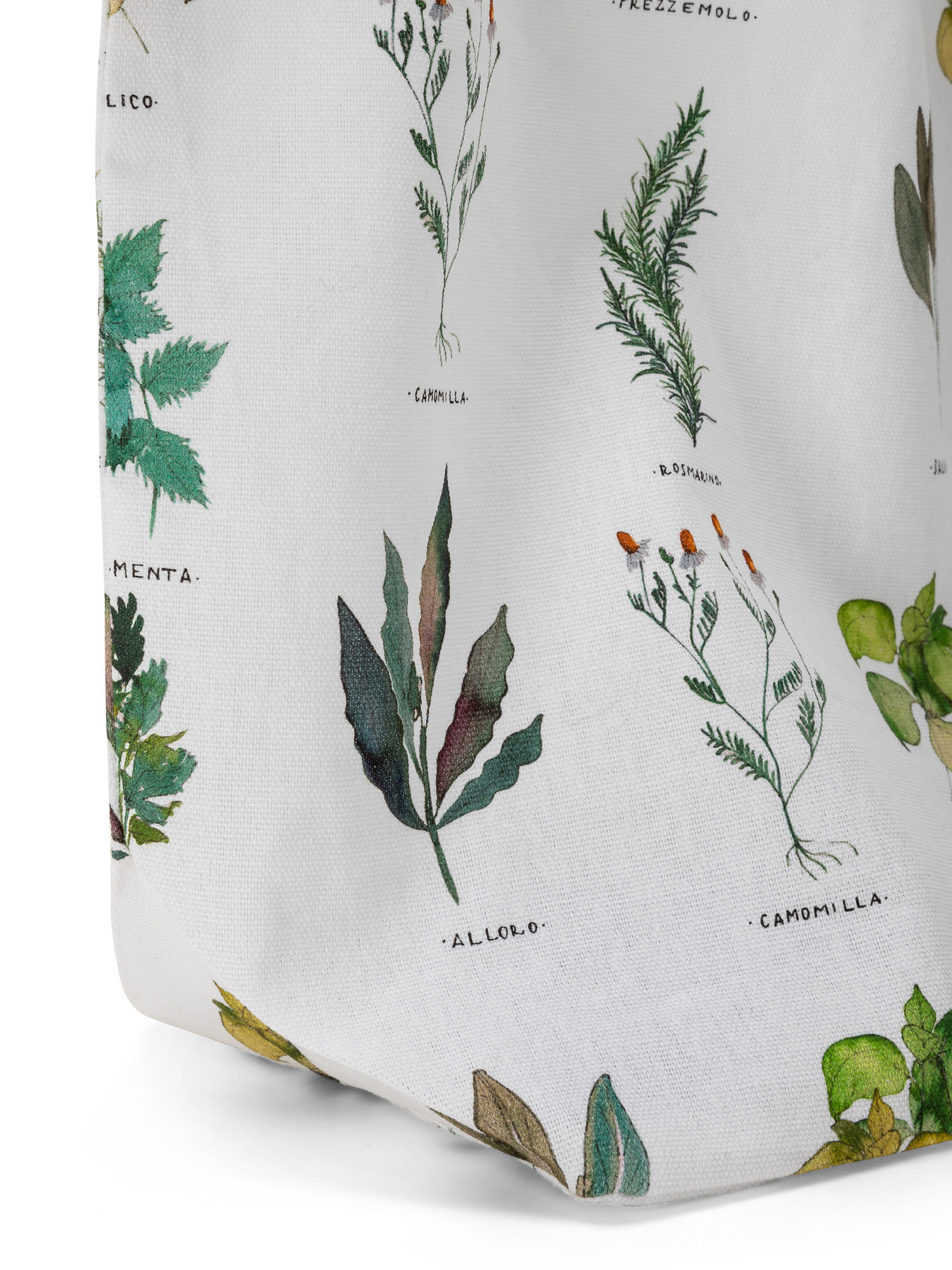 Borsa puro cotone organico stampa erbe, Bianco, large image number 2