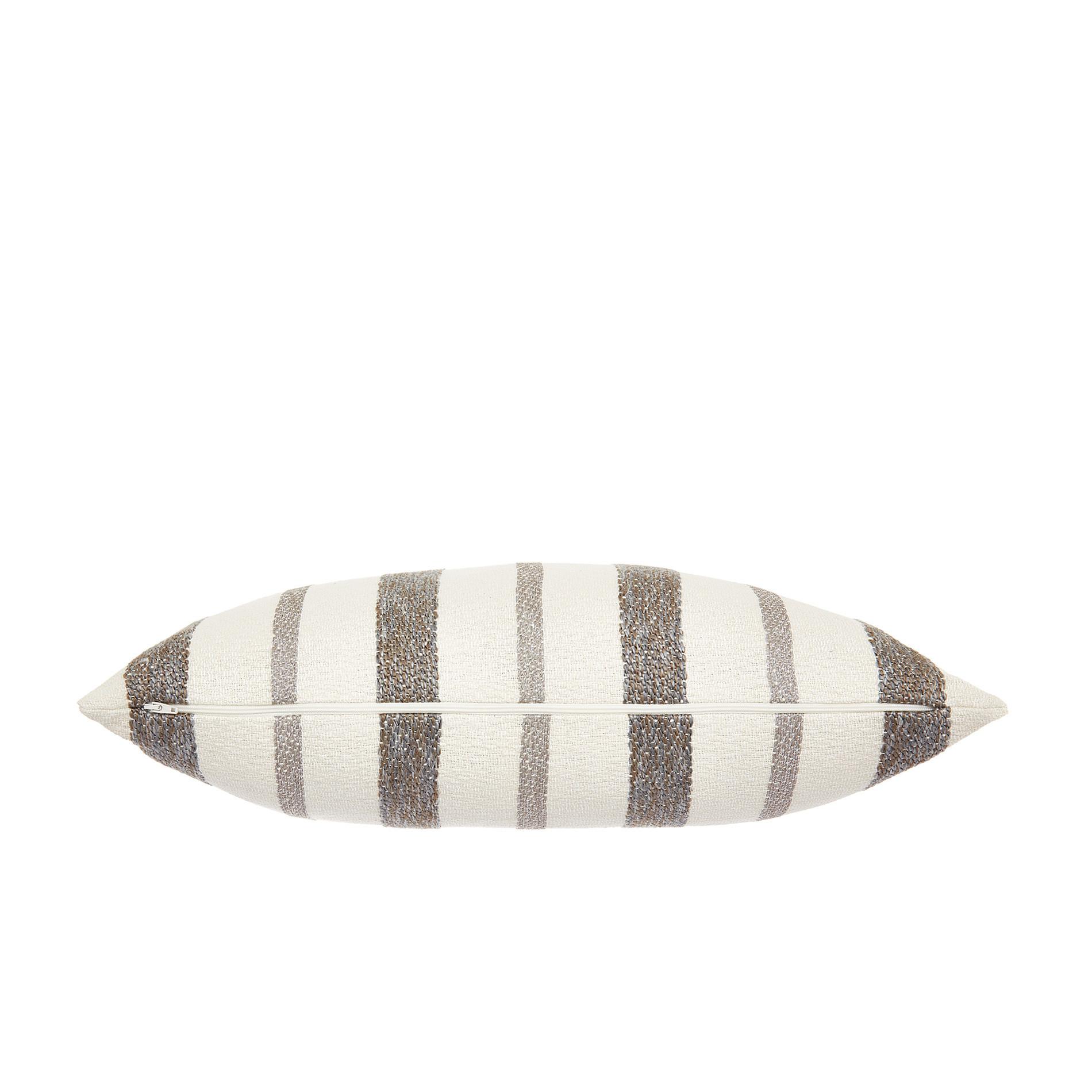 Cuscino misto cotone a righe 35x55cm, Grigio, large image number 1