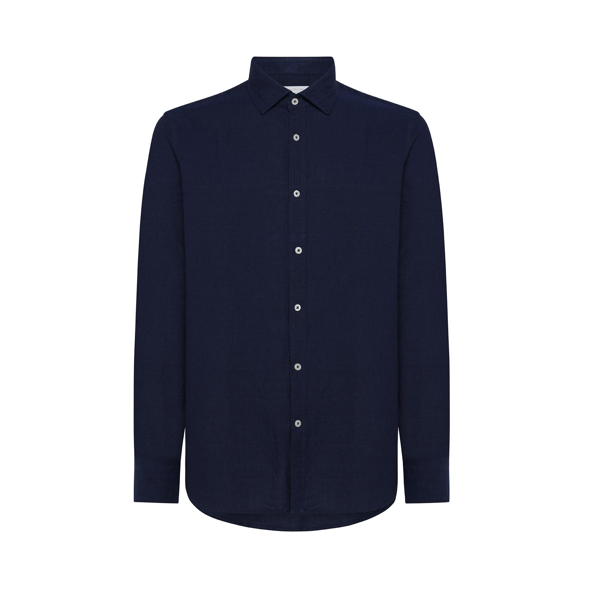 Camicia misto lino e cotone Luca D'Altieri, Blu scuro, large image number 0
