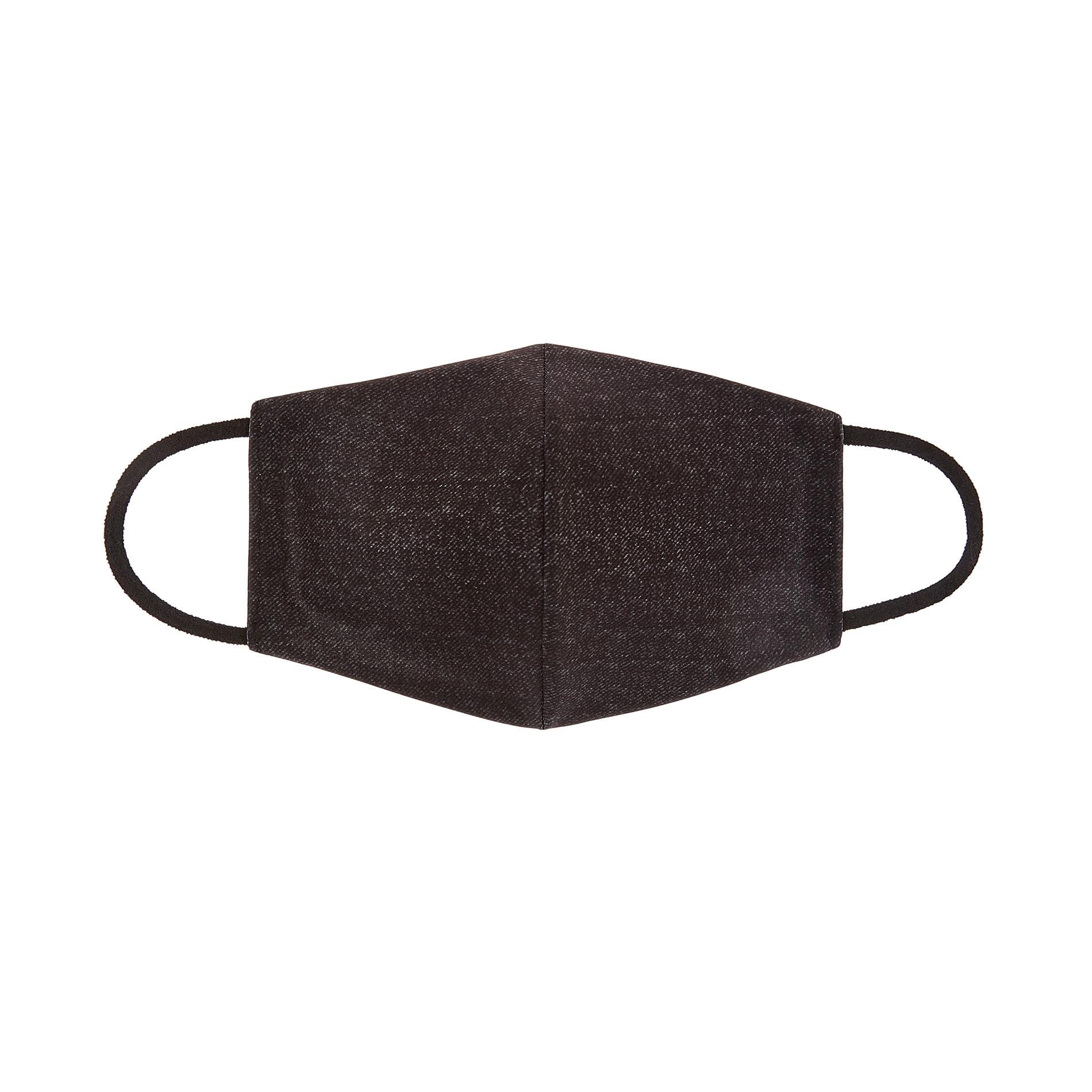 Mascherina lavabile tessuto denim nero, Nero, large image number 0