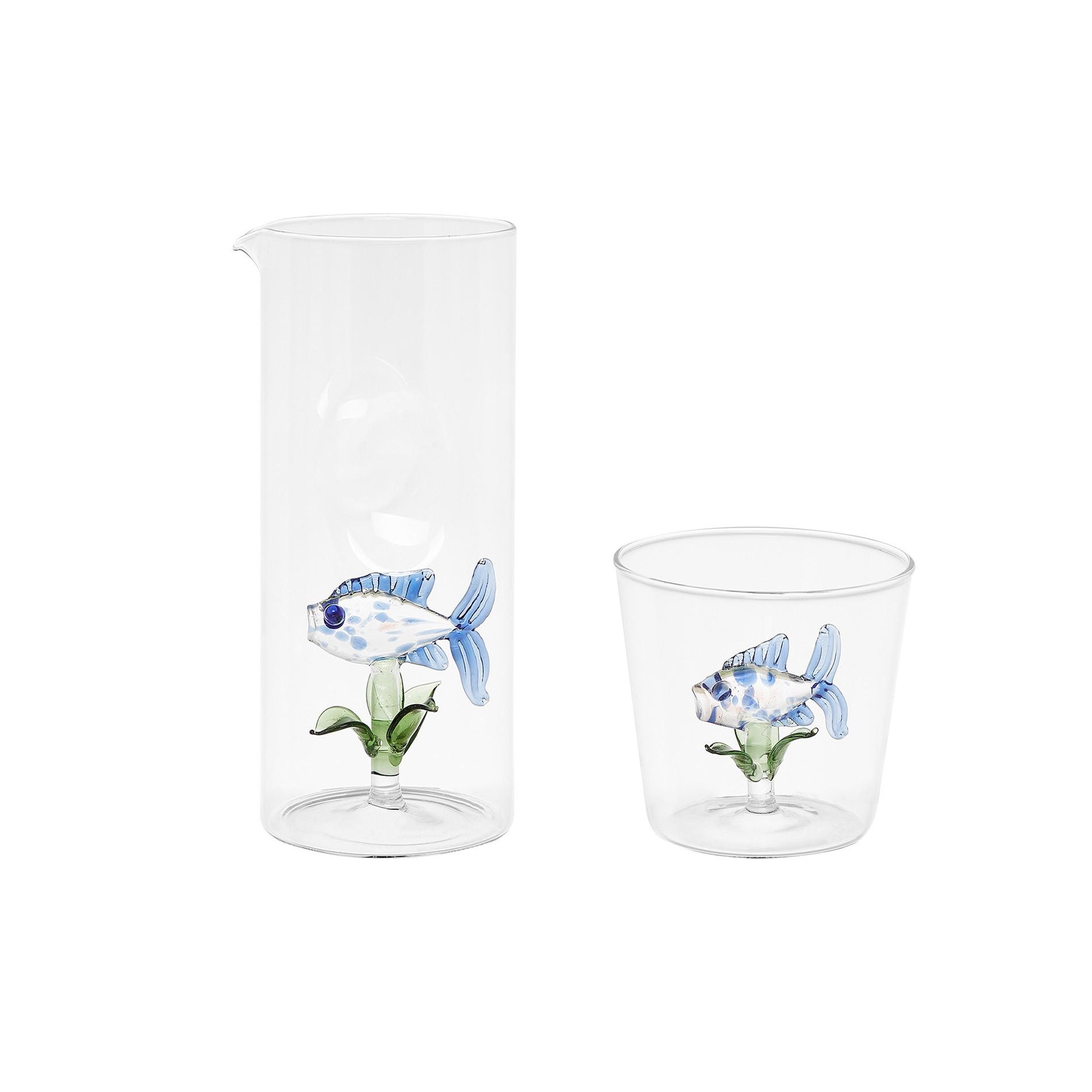 Bicchiere vetro dettaglio pesciolino, Trasparente, large image number 2