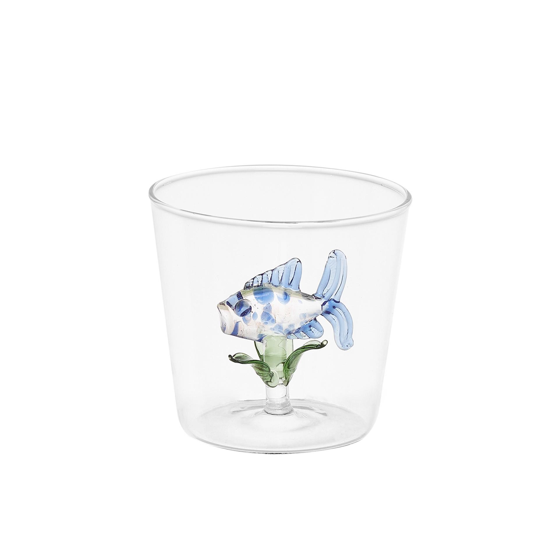 Bicchiere vetro dettaglio pesciolino, Trasparente, large image number 0