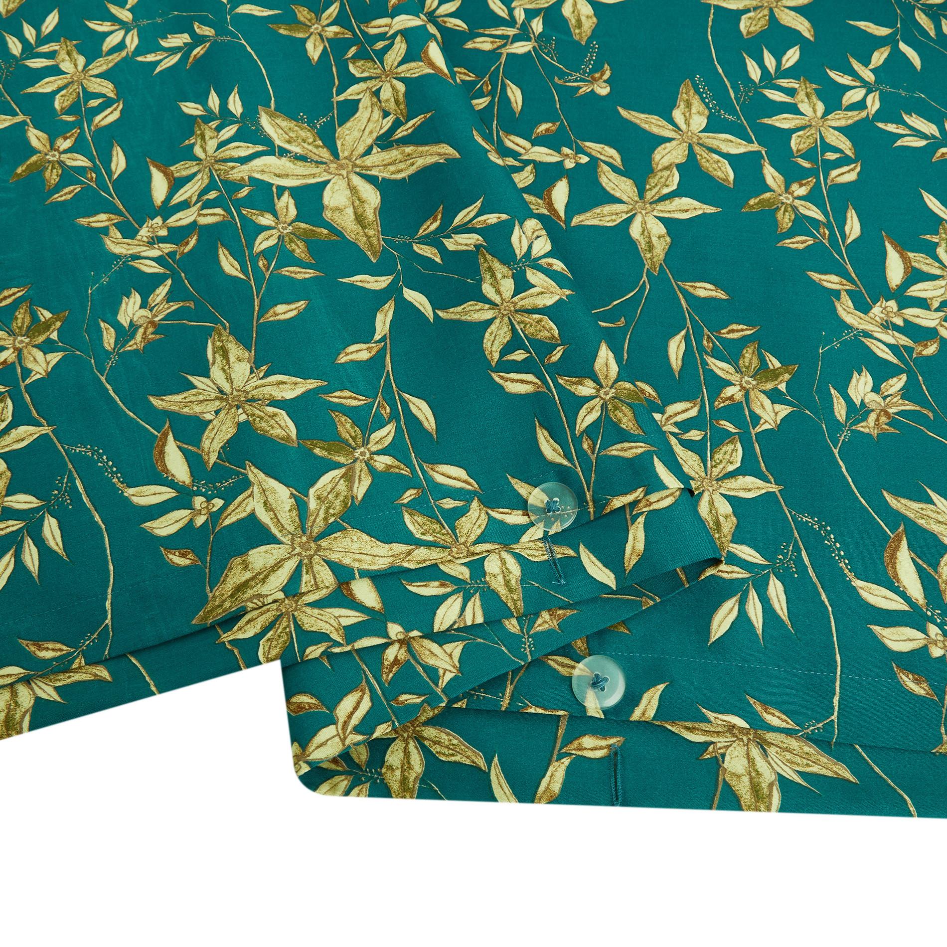Copripiumino raso di cotone fantasia a fiori, Petrolio, large image number 3