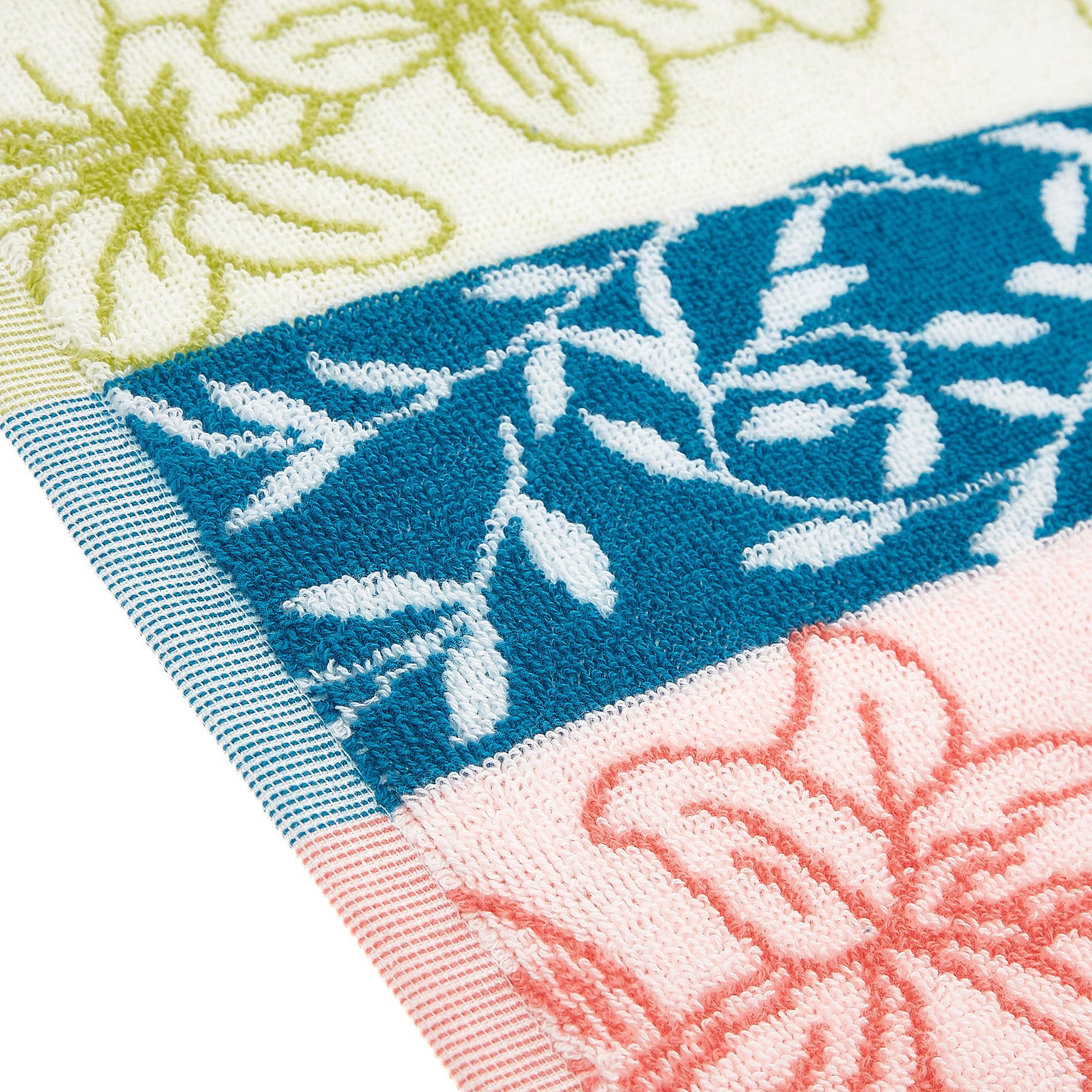 Asciugamano cotone jacquard motivo floreale, Multicolor, large image number 2